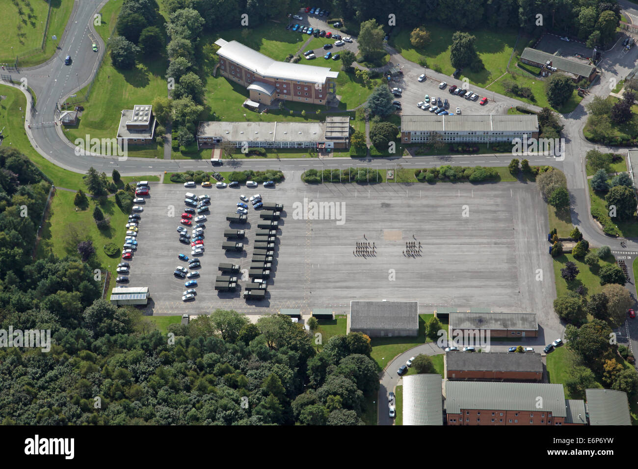 aerial view of a military parade ground at Catterick Garrison, North Yorkshire, UK - Stock Image