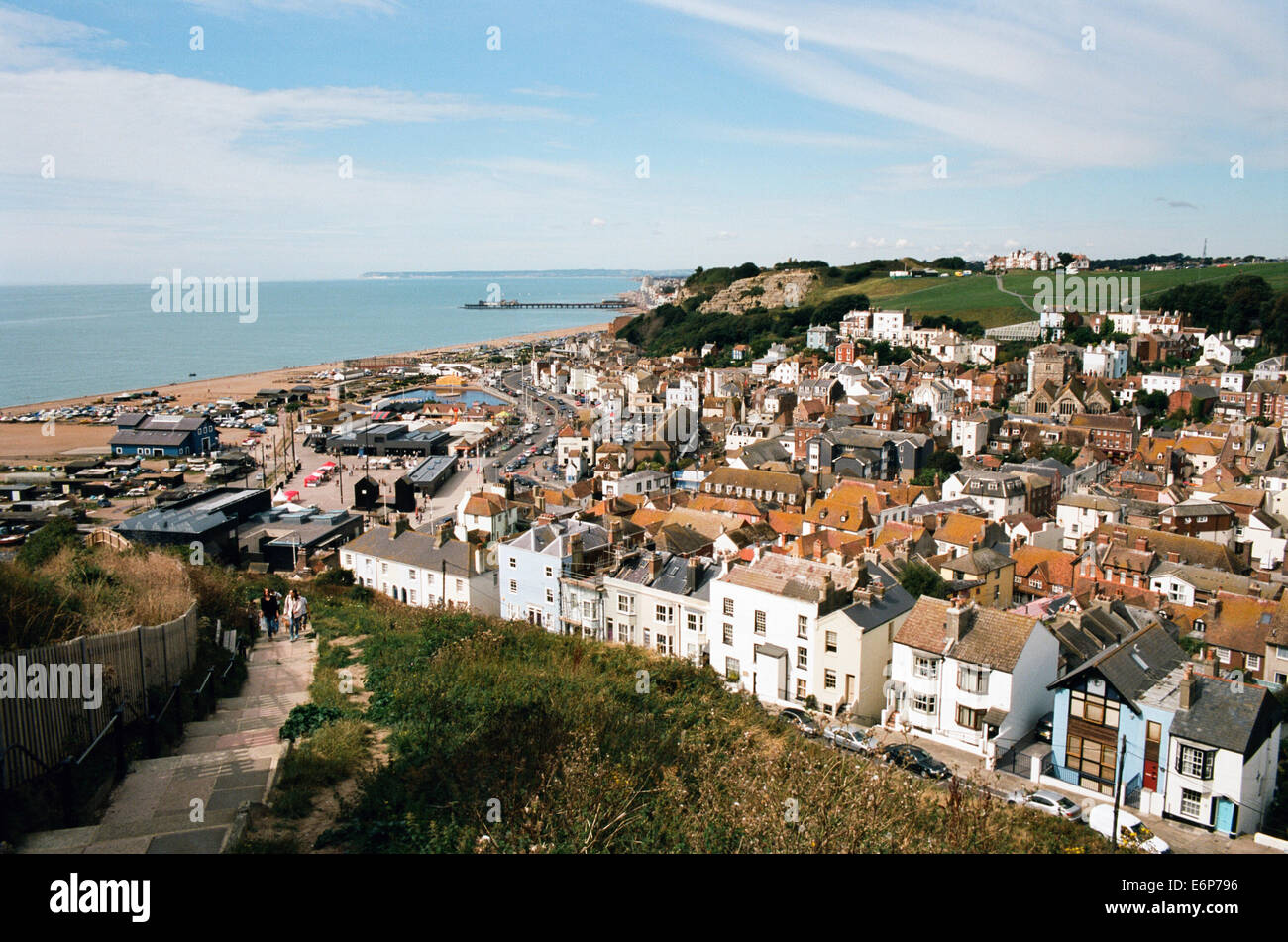 Hastings Old Town, Sussex GB, viewed from East Hill - Stock Image
