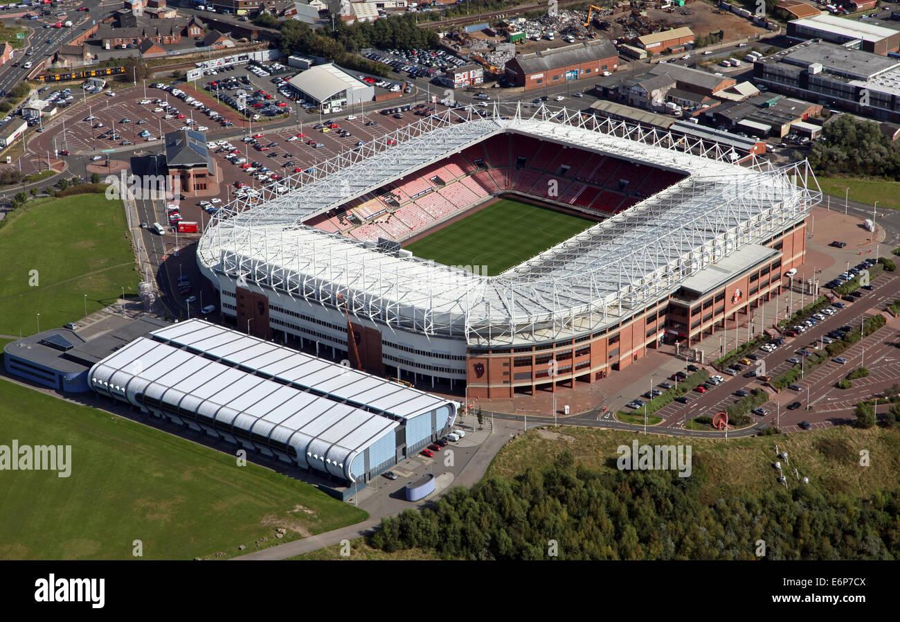 aerial view of Sunderland AFC's Stadium of Light, UK - Stock Image