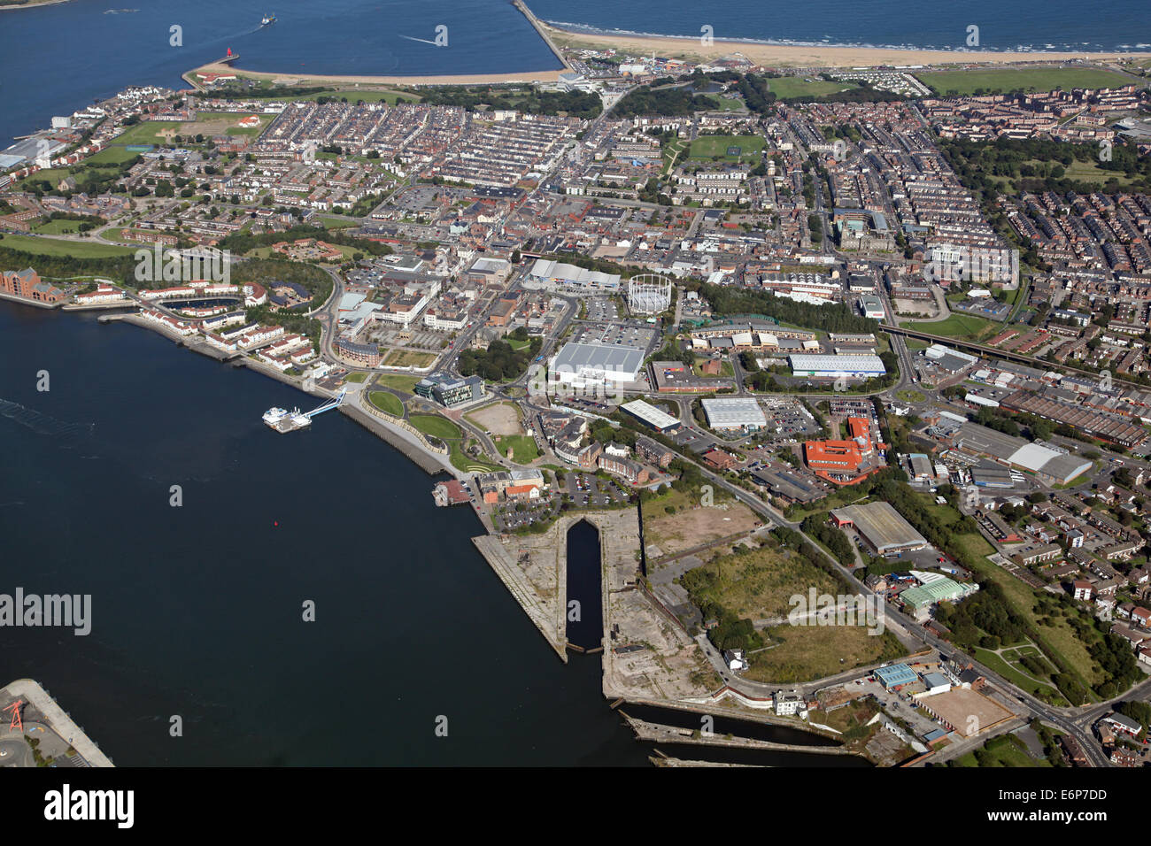 aerial view of South Shields, Tyne & Wear, UK - Stock Image