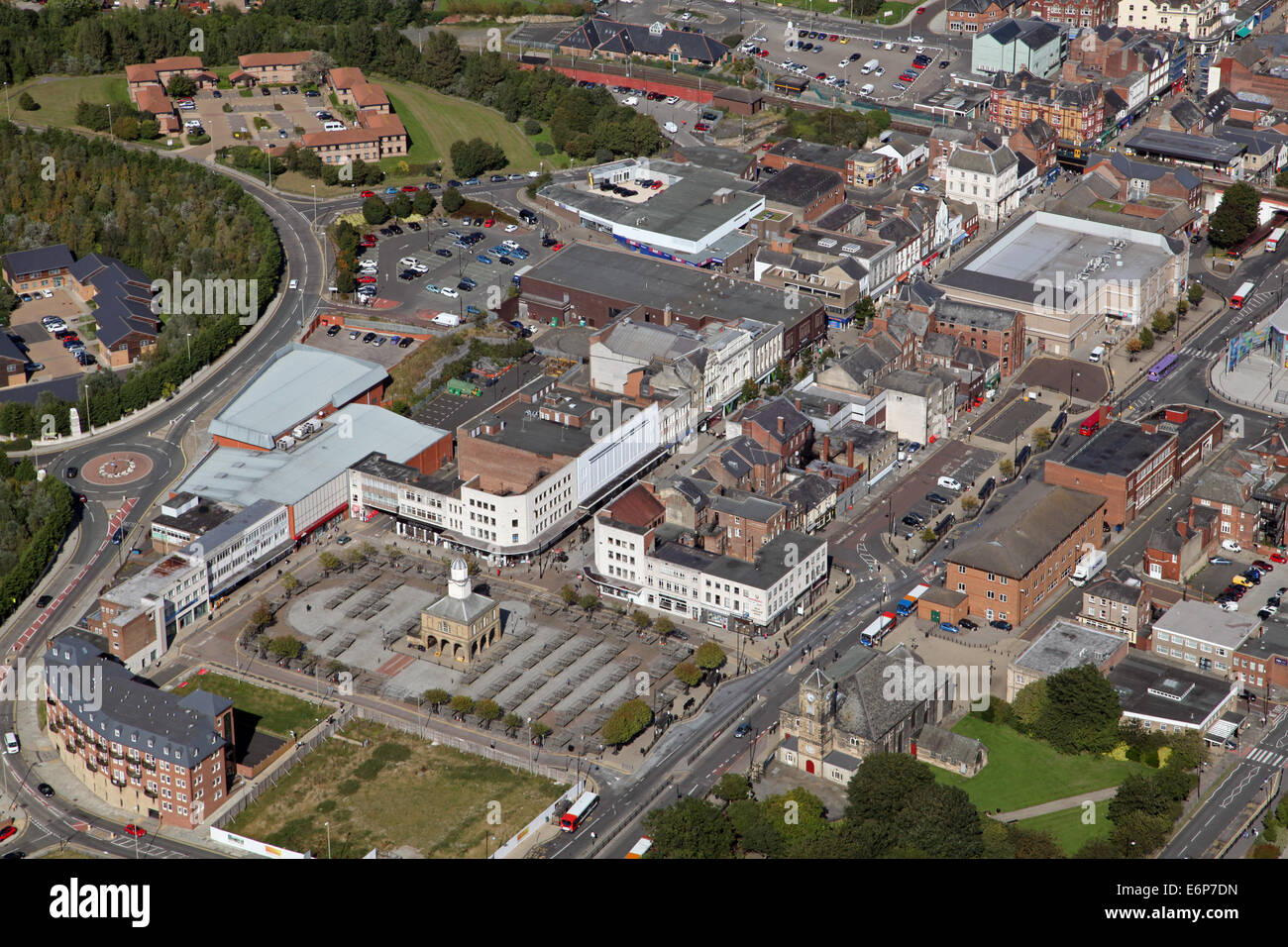 aerial view of South Shields town centre, UK - Stock Image