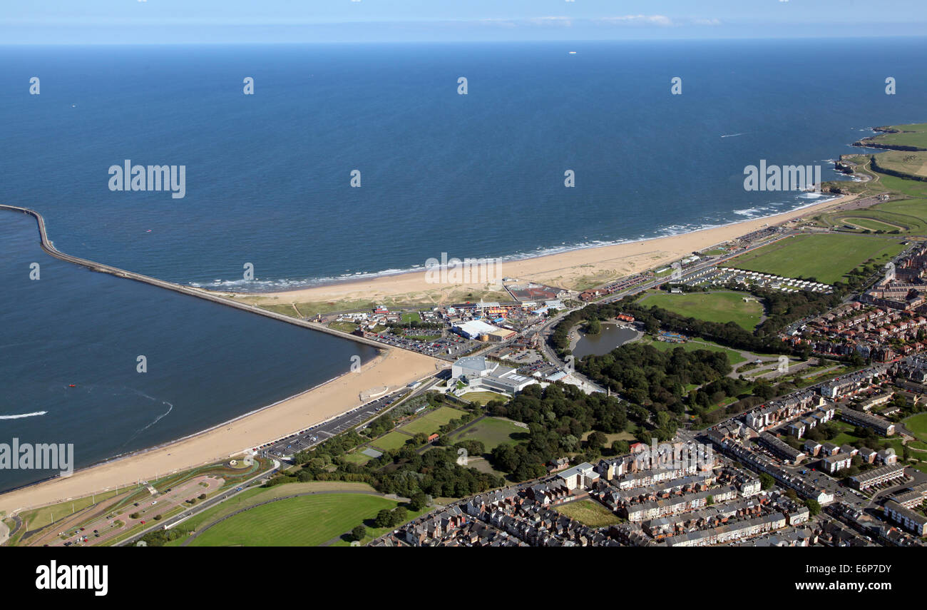 aerial view of the South Pier and beach at South Shields, UK - Stock Image