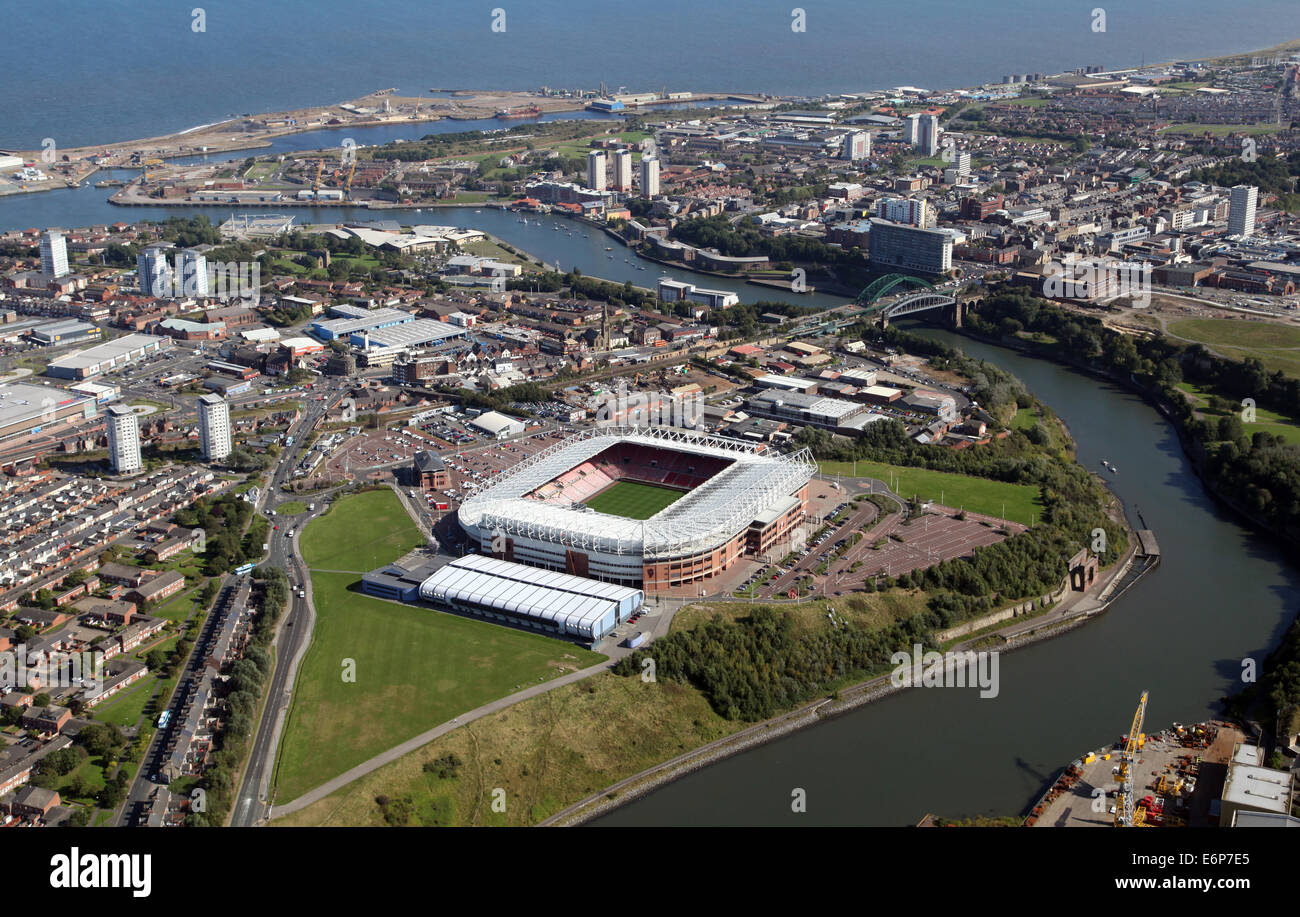 aerial view of Sunderland with the River Wear and Stadium of Light in the foreground - Stock Image