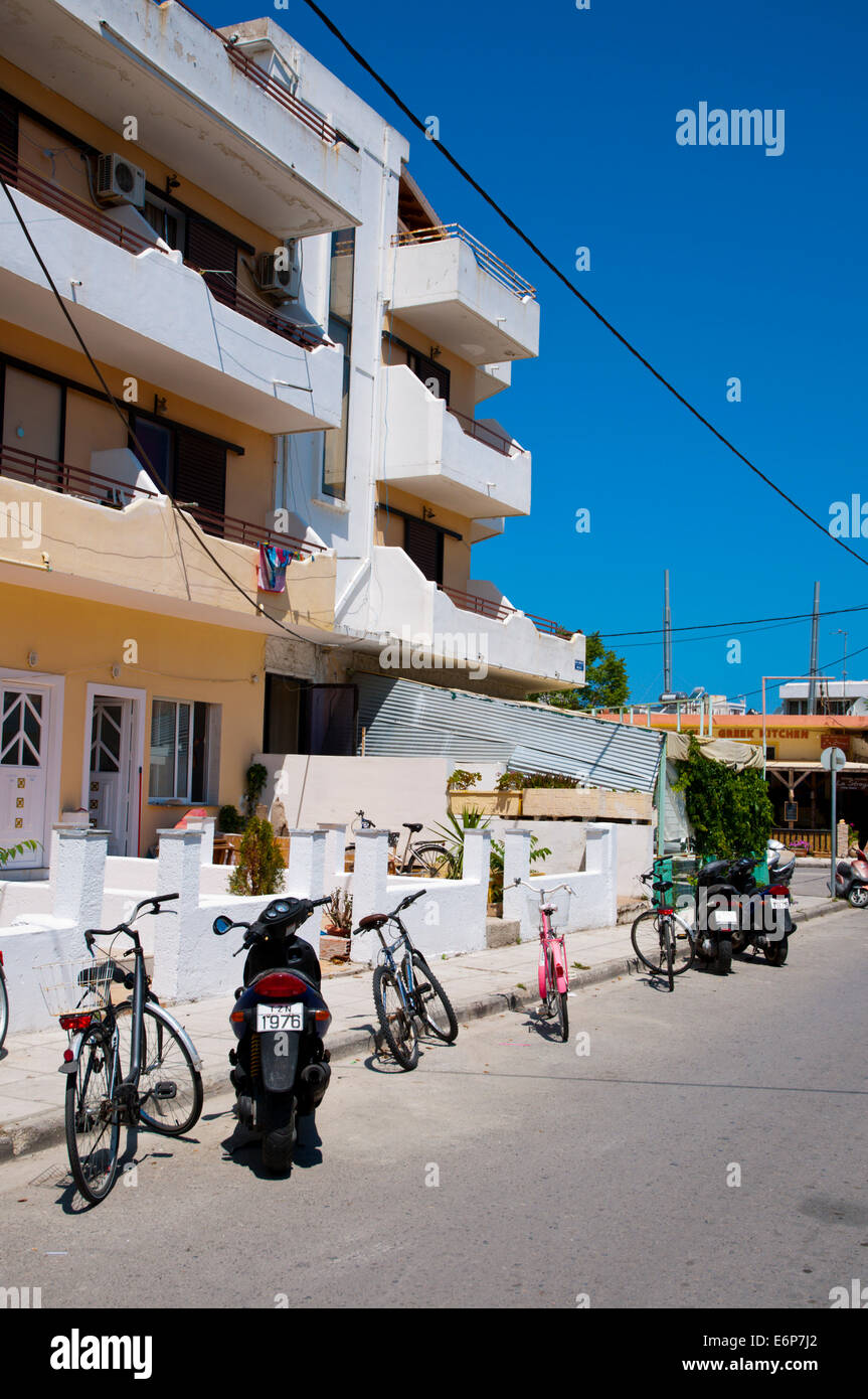 Parked bikes and scooters, Kos town, Kos island, Dodecanese islands,  Greece, Europe - Stock Image