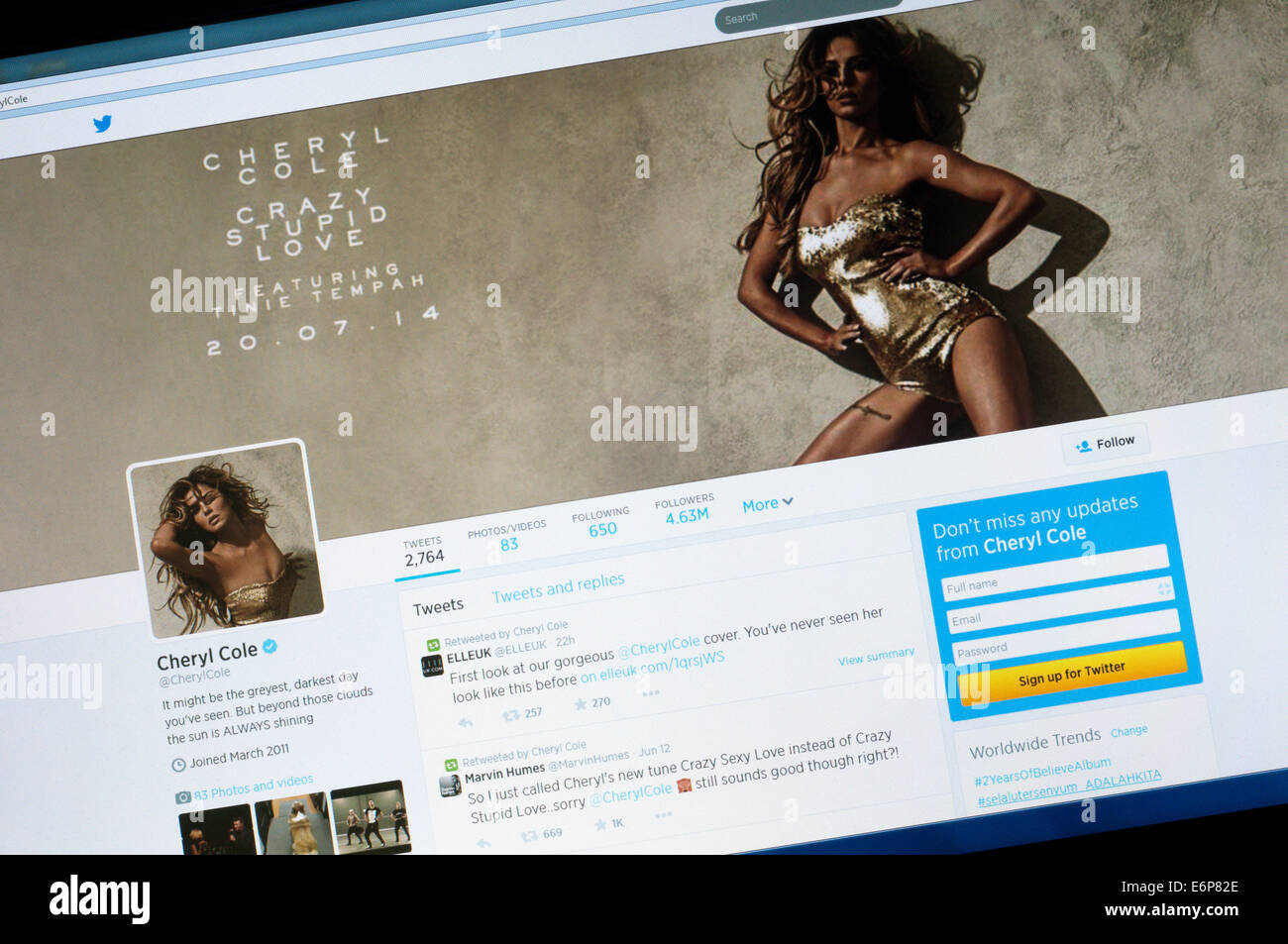 The twitter account of Cheryl Cole. - Stock Image