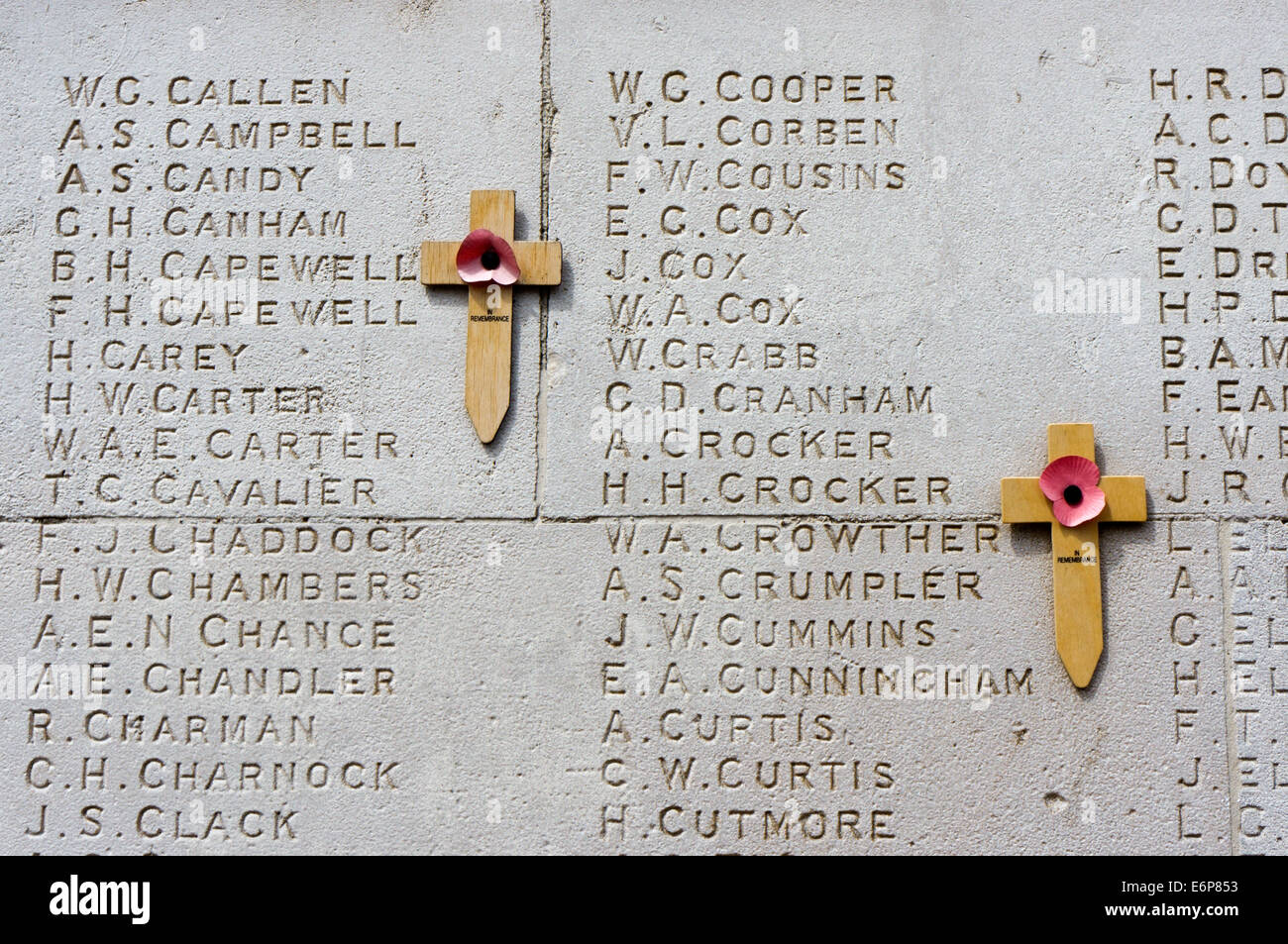 A pair of crosses with poppies on the war memorial in Stockwell, South London. - Stock Image