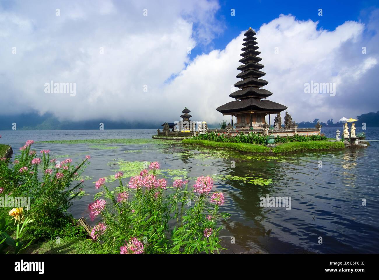 Pura Ulun Danu Bratan is a major water temple on Lake Bratan, Bali, Indonesia - Stock Image