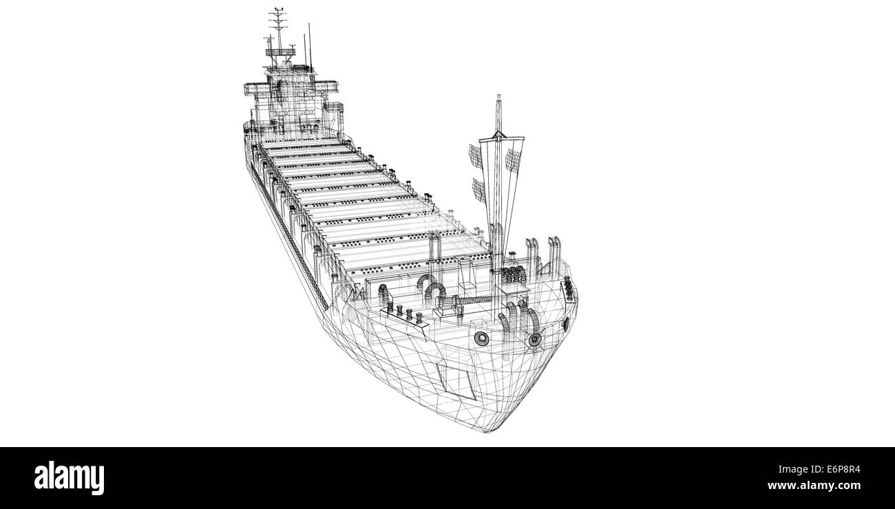 barge Cargo  model body structure, wire model - Stock Image