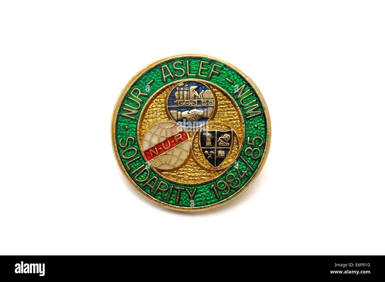 NUR,ASLEF,NUM. Solidarity enamel pin badge 1984-1985 - Stock Image