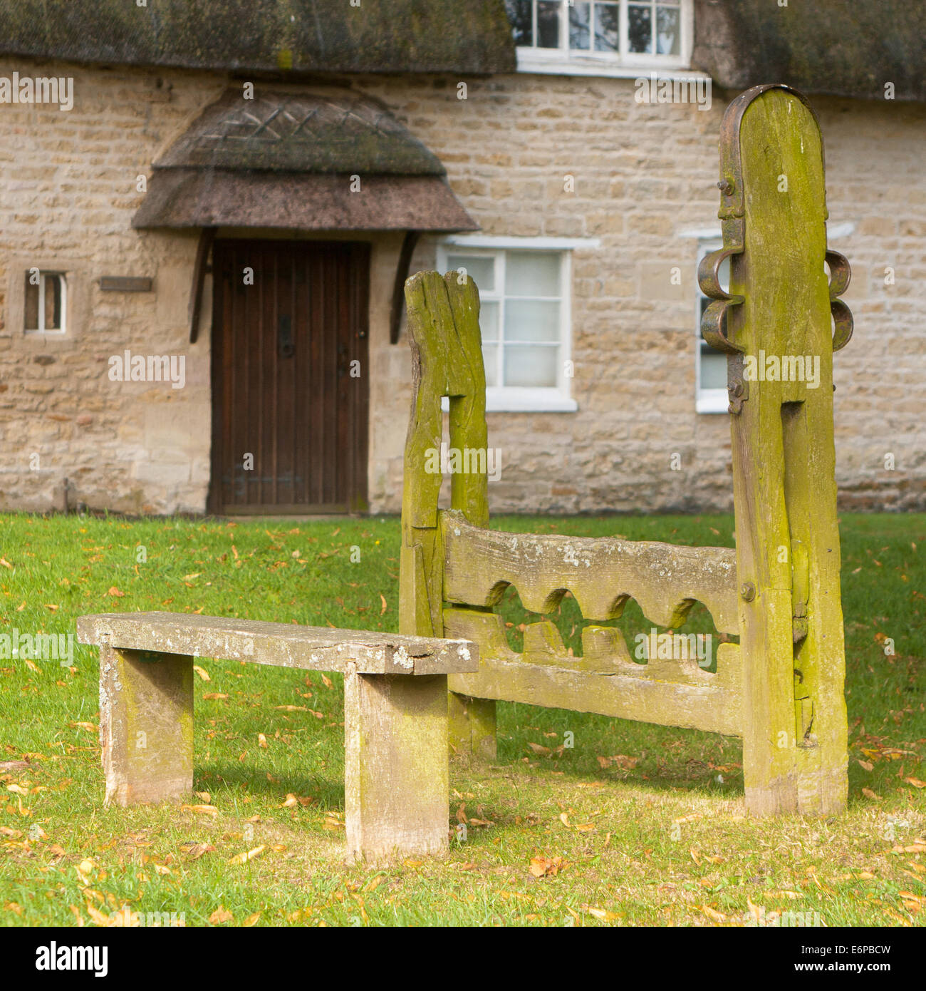 The Stocks And Whipping Post On The Village Green At