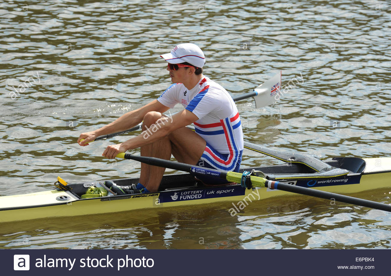 Amsterdam NL 27th August 2014 World Rowing Championships.  Lightweight mens skulls.  Zak Lee-Green (GBR) - Stock Image