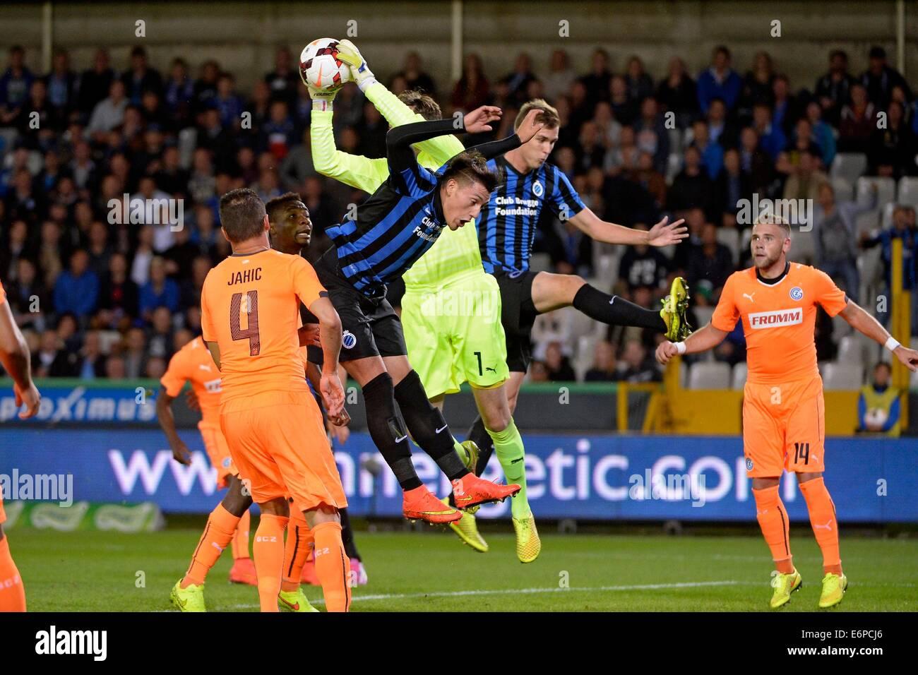 Bruges, Belgium. 28th Aug, 2014. UEFA Europa League qualification. Club Brugge versus Grasshoppers Zurich. Nicolas - Stock Image