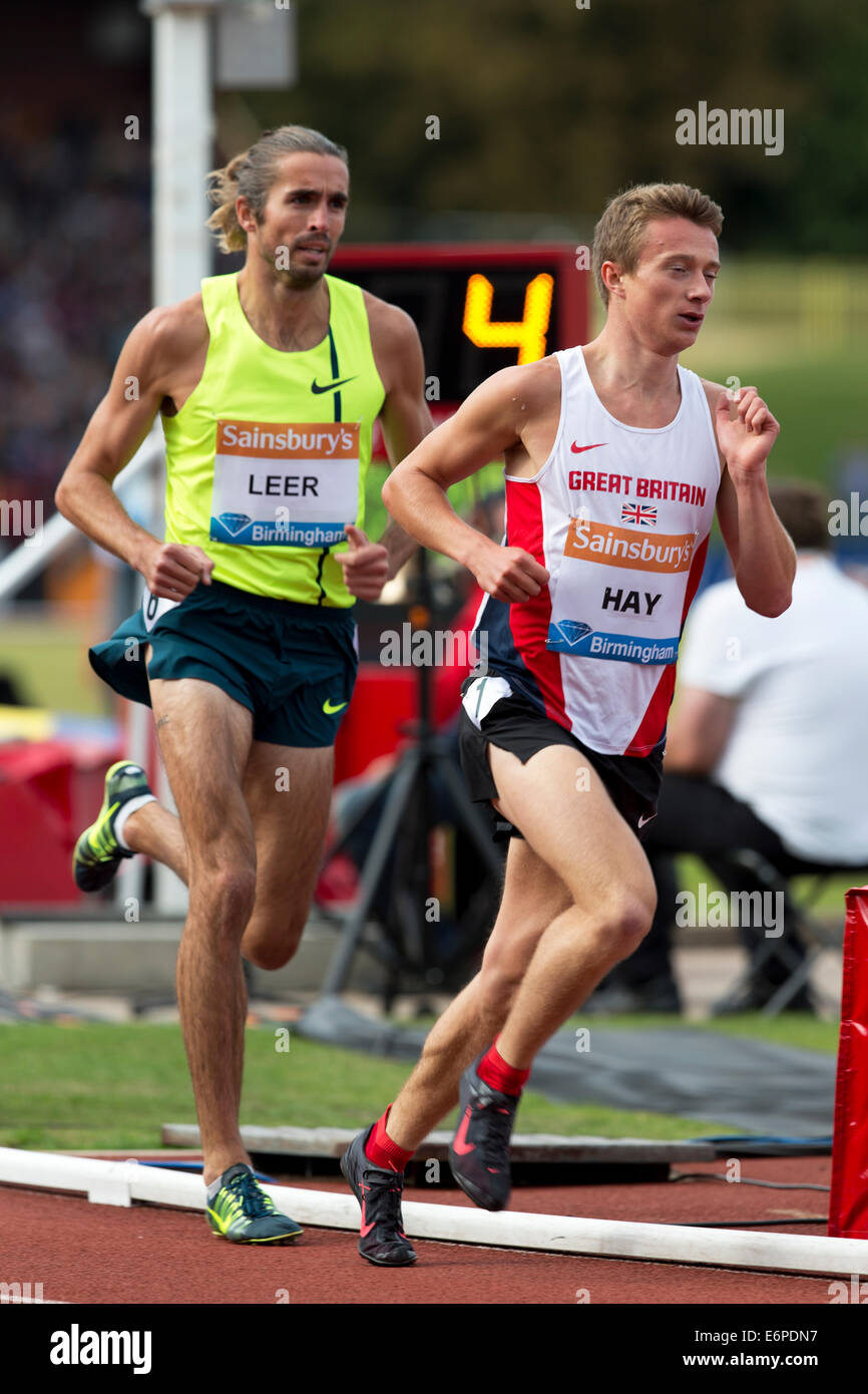 Jonathan HAY & Will LEER, 2 Mile Men's race Diamond League 2014 Sainsbury's Birmingham Grand Prix, Alexander - Stock Image