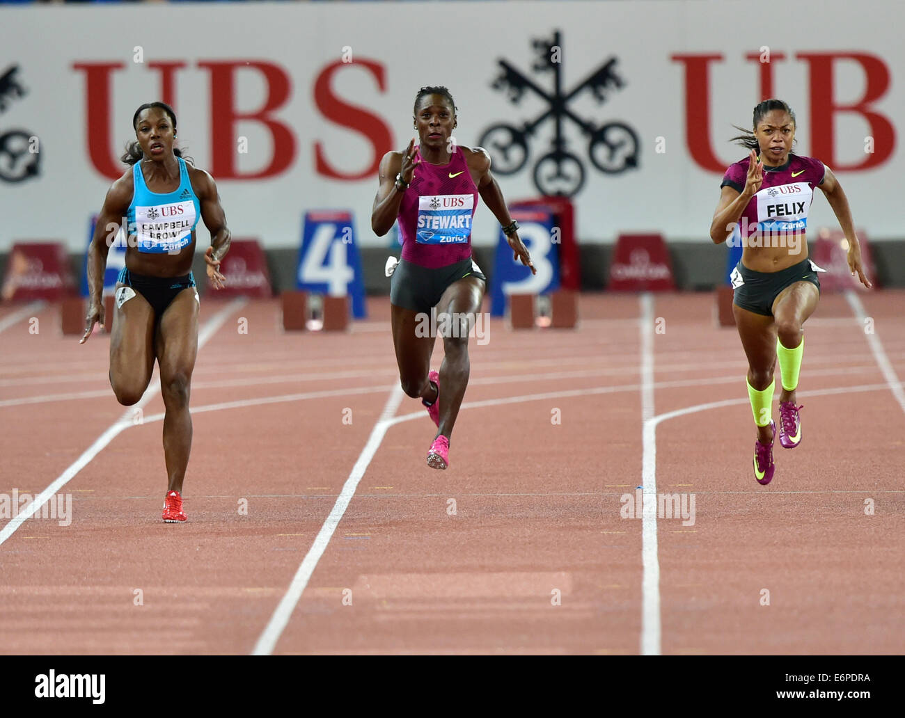Zurich, Switzerland. 28th Aug, 2014. Veronica Campbell-Brown (JAM, left) winning the women's 100m at  the IAAF - Stock Image