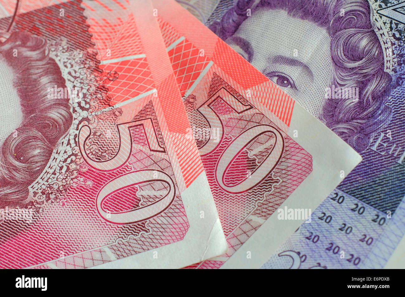 British currency 50 & 20 pound notes - Stock Image