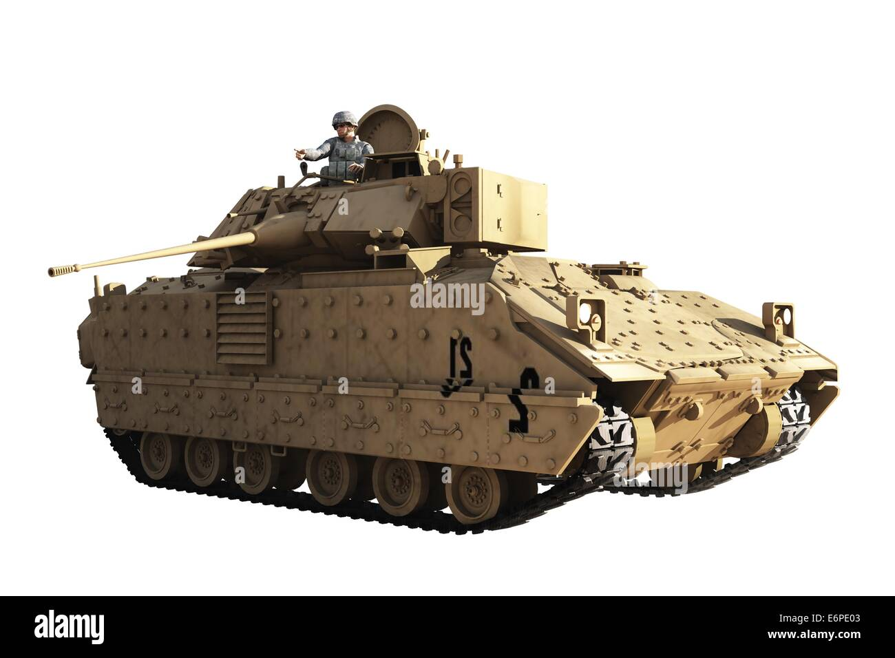 Officer commanding tank stands at open hatch - Stock Image