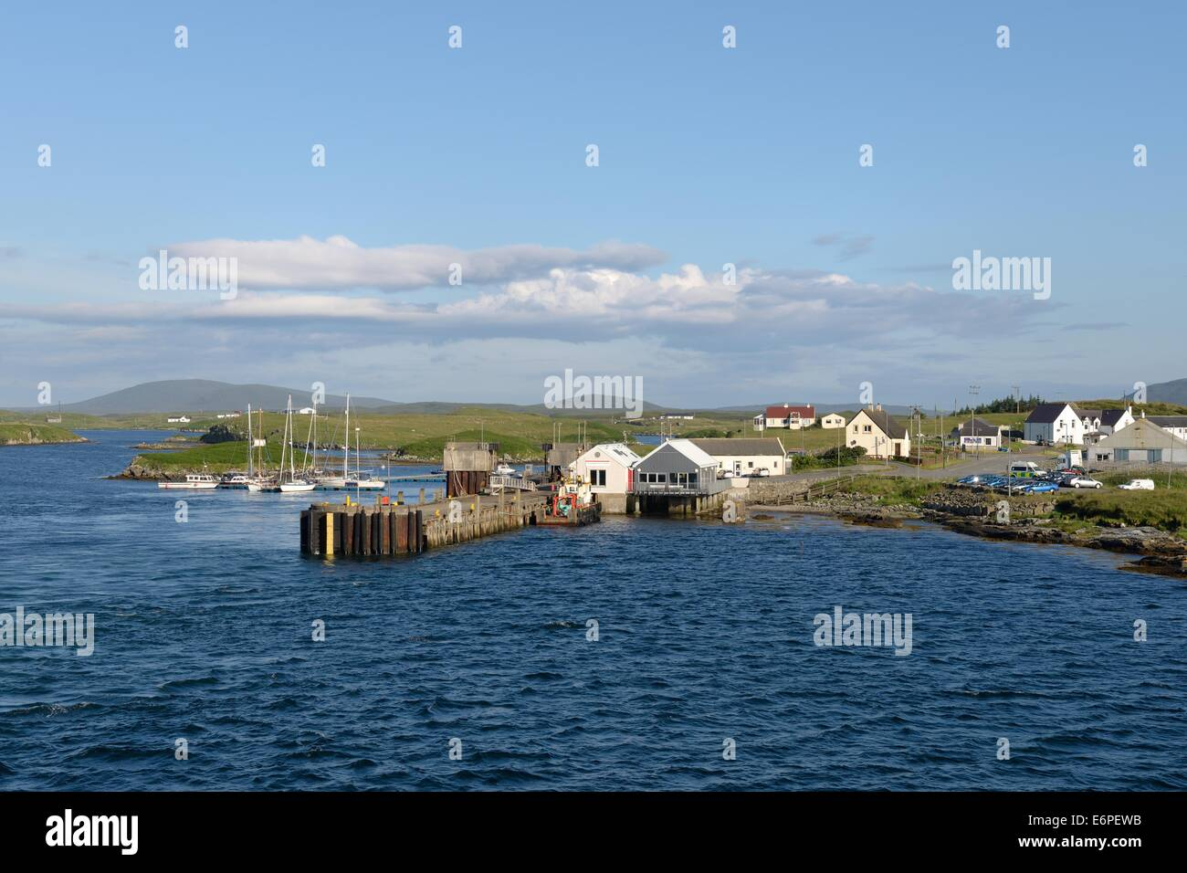 Small village ferry port at Lochmaddy on North Uist, Outer Hebrides, Scotland, UK - Stock Image