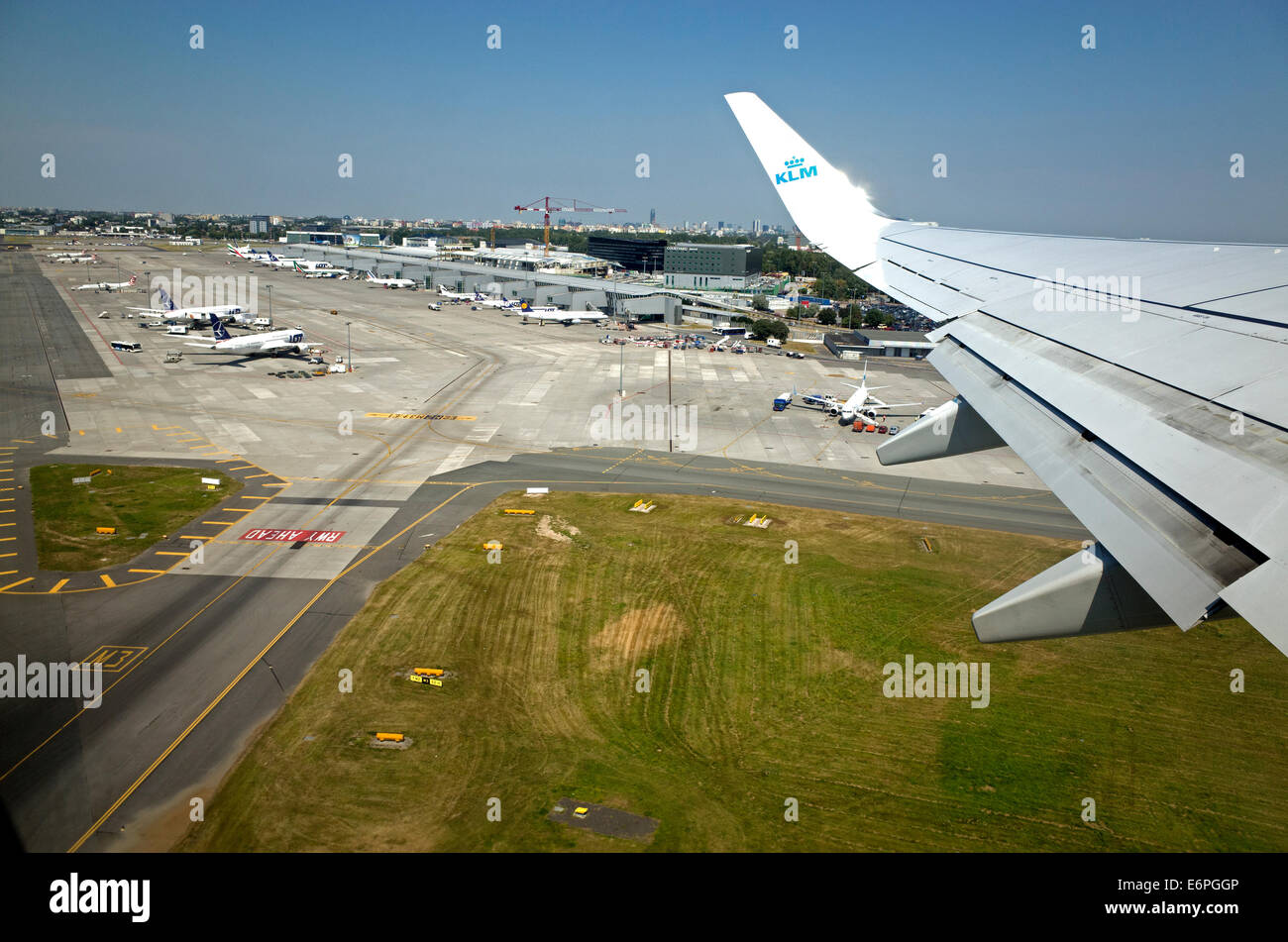 View of the of the Frederic Chopin airport from an airborne KLM airplane. Warsaw Poland - Stock Image