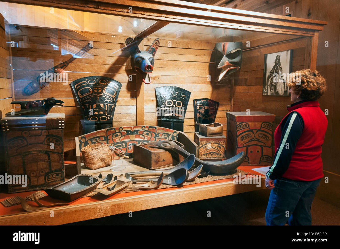 Elk203-4385 Canada, British Columbia, Prince Rupert, Museum of Northern BC, exhibit - Stock Image