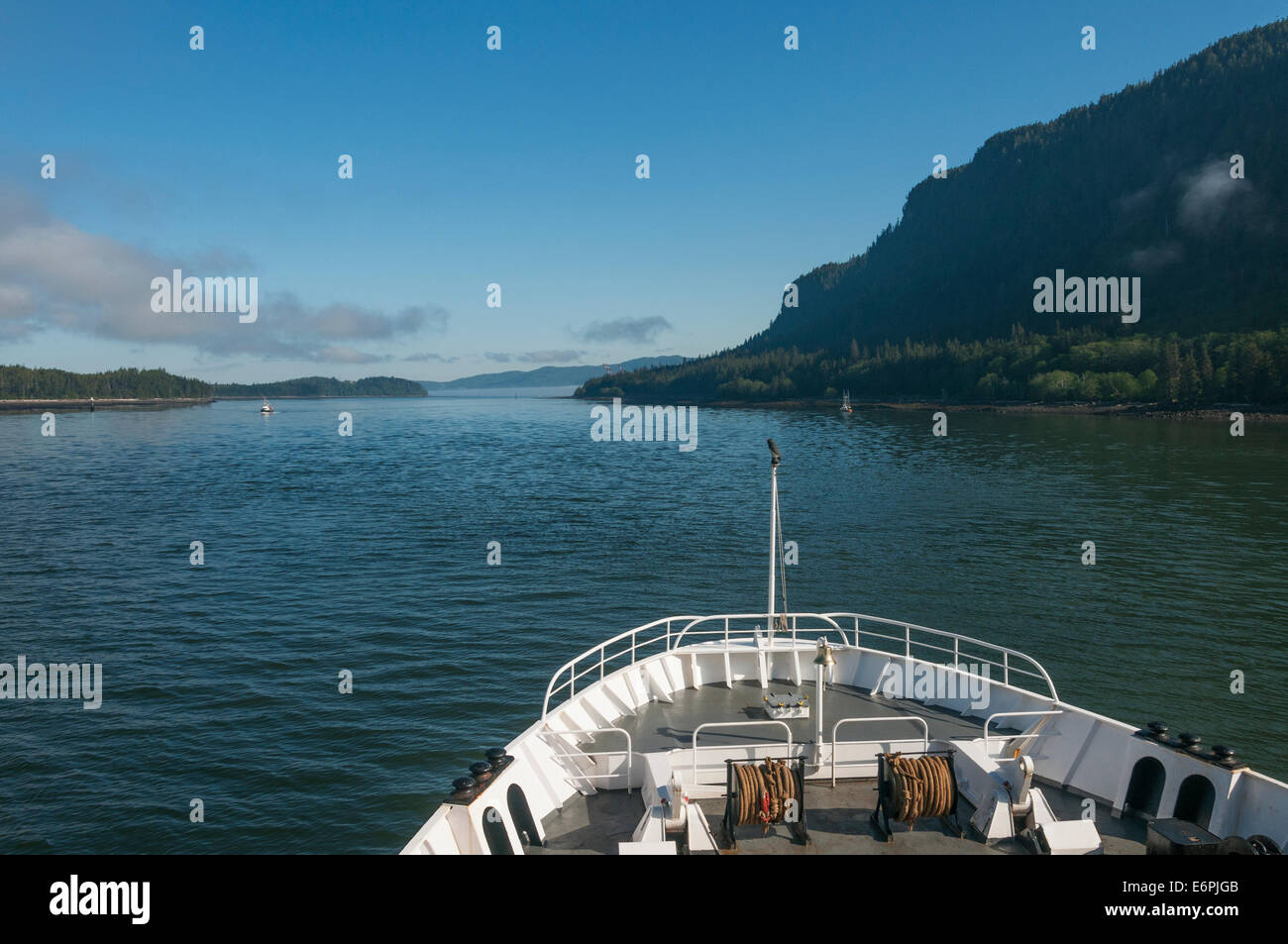 Elk203-4415 Canada, British Columbia, Prince Rupert, BC ferry, view over bow - Stock Image