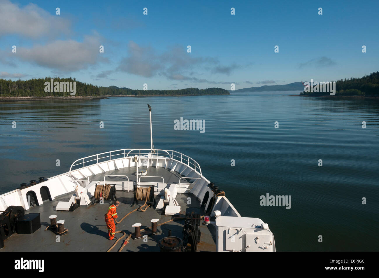 Elk203-4416 Canada, British Columbia, Prince Rupert, BC ferry, view over bow - Stock Image