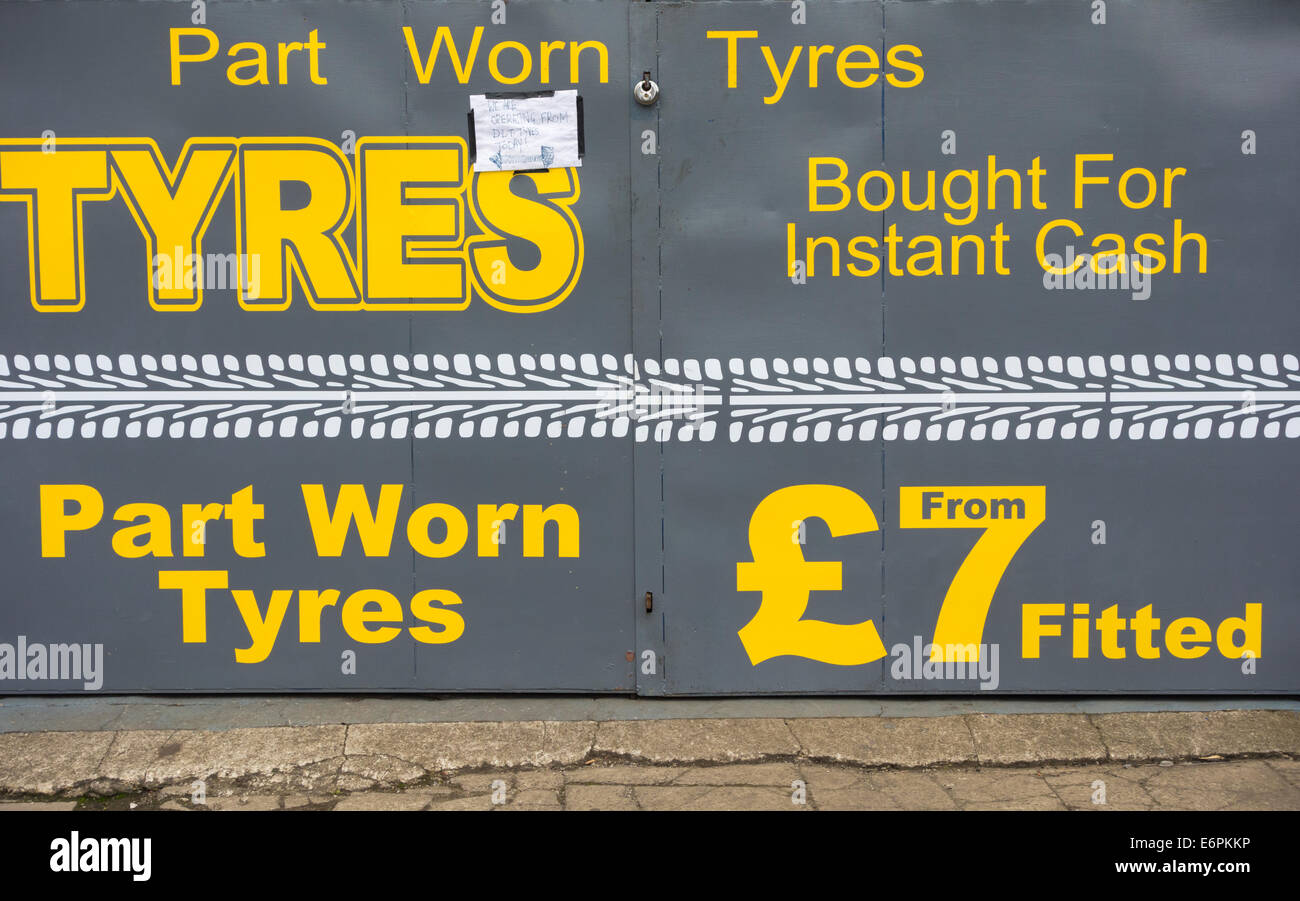 Part worn tyres for sale. England. UK - Stock Image