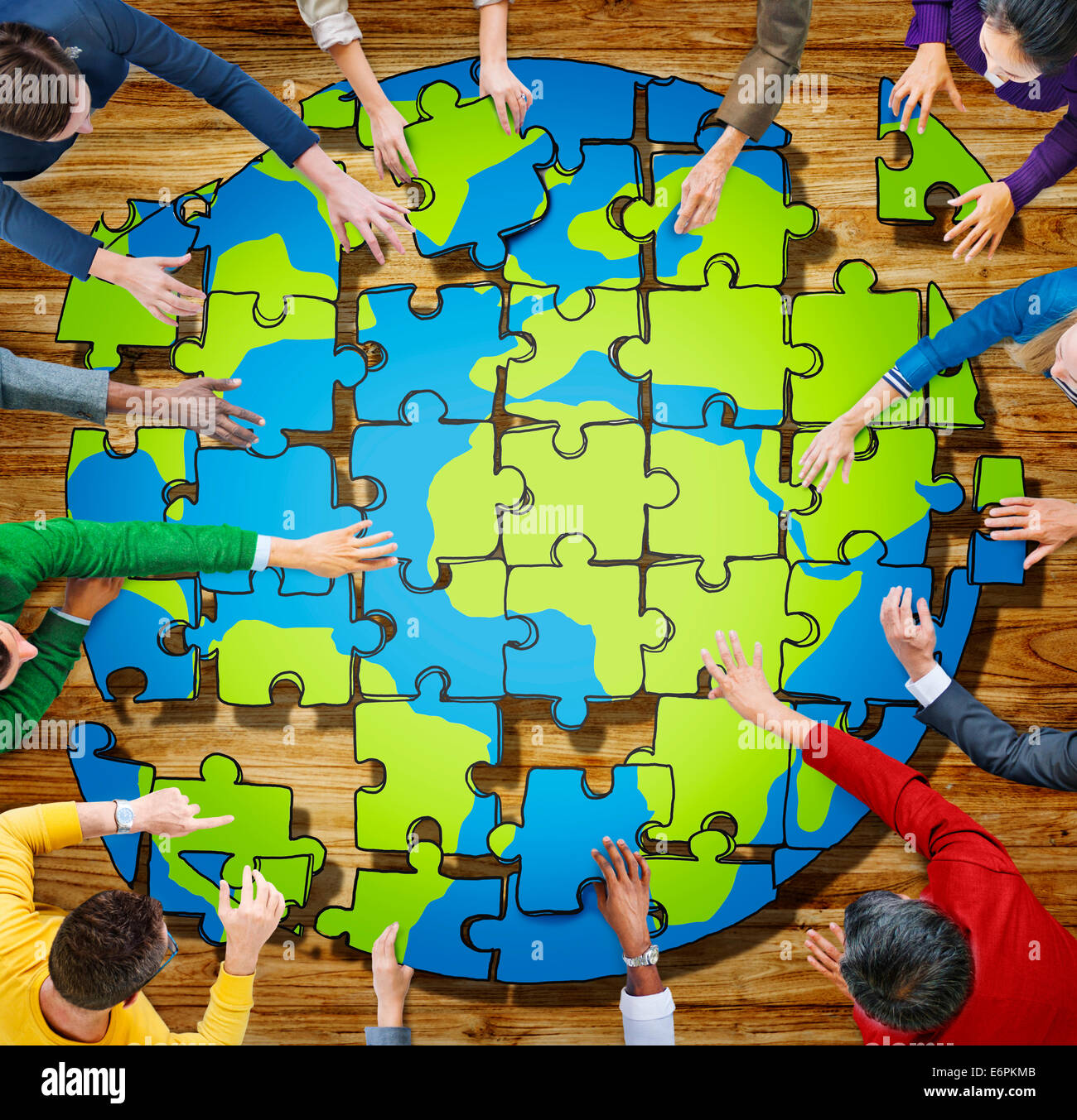 Globe jigsaw stock photos globe jigsaw stock images alamy people with jigsaw puzzle forming globe in photo and illustration stock image gumiabroncs Image collections