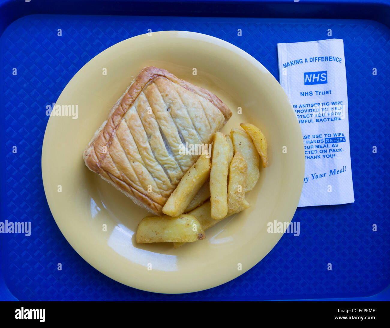 Meal on tray in NHS hospital in England, UK - Stock Image