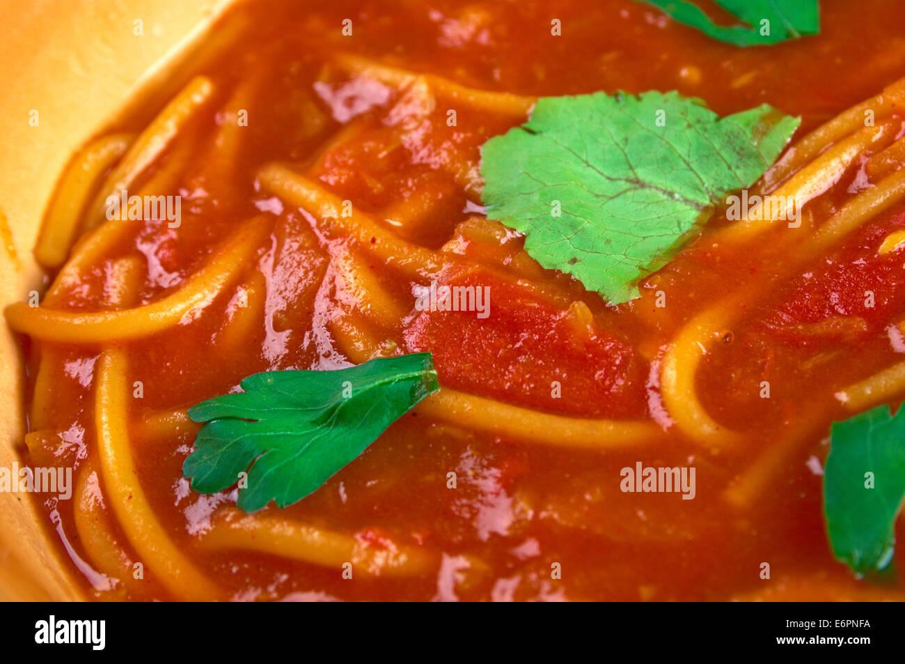 Algerian tomato soup Chorba bil Matisha - Stock Image