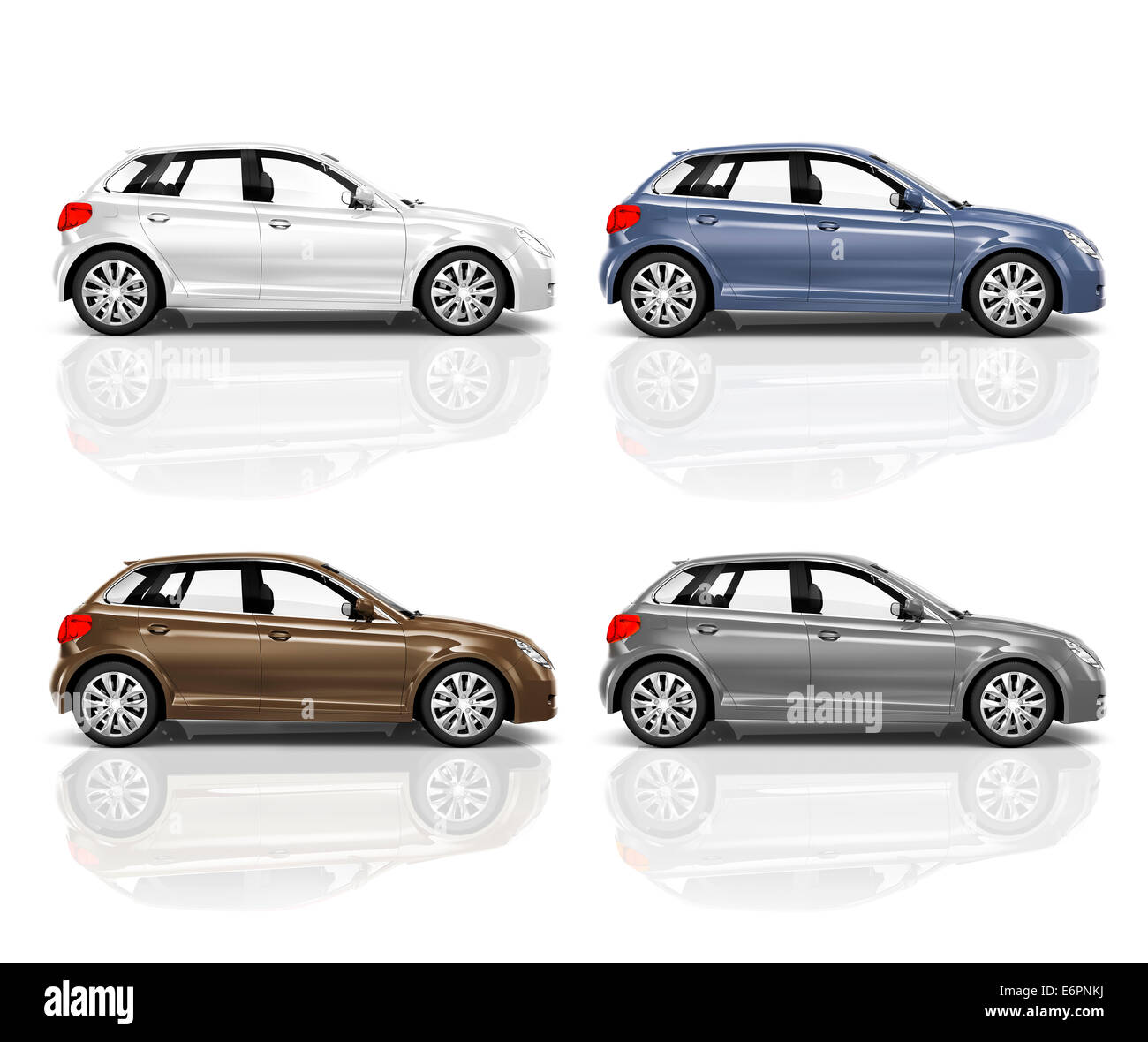 Set of 3D Hatchback Car. - Stock Image
