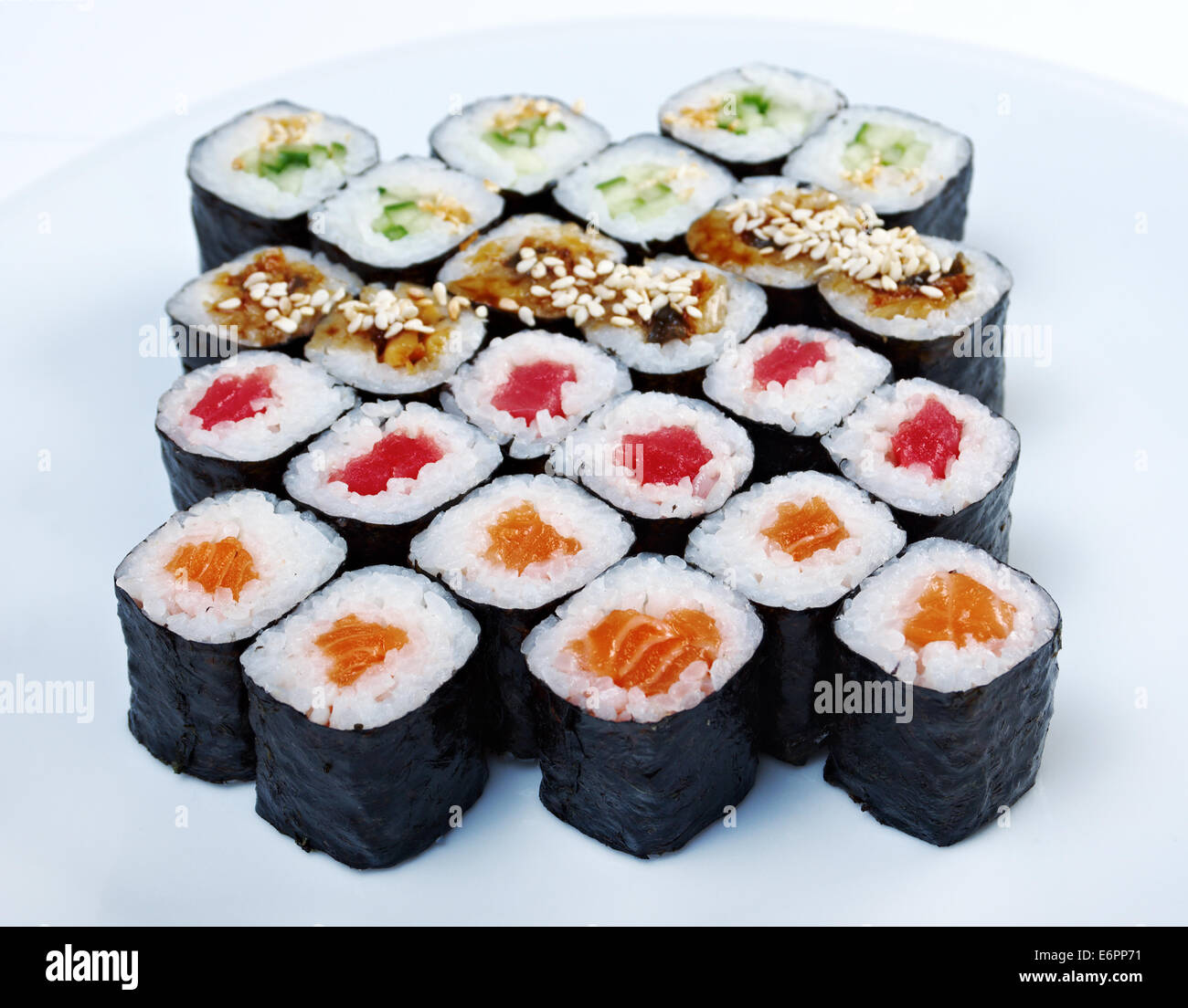 Japanese sushi.Roll  sat made salmon, eel, tuna, vegetables - Stock Image