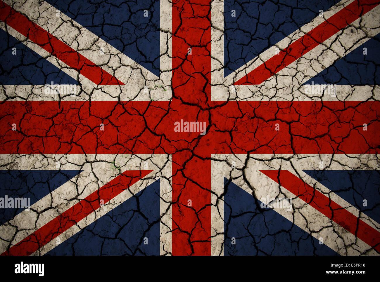 Cracked Union Jack Flag - Stock Image