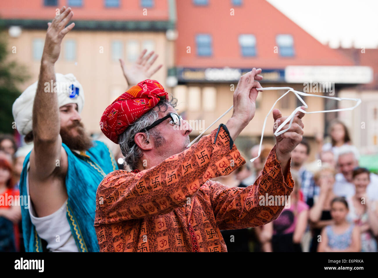 The Incredible Box, street theatre performance by Cia La Tal at Festival Lent, Maribor, Slovenia, June 28, 2014 - Stock Image