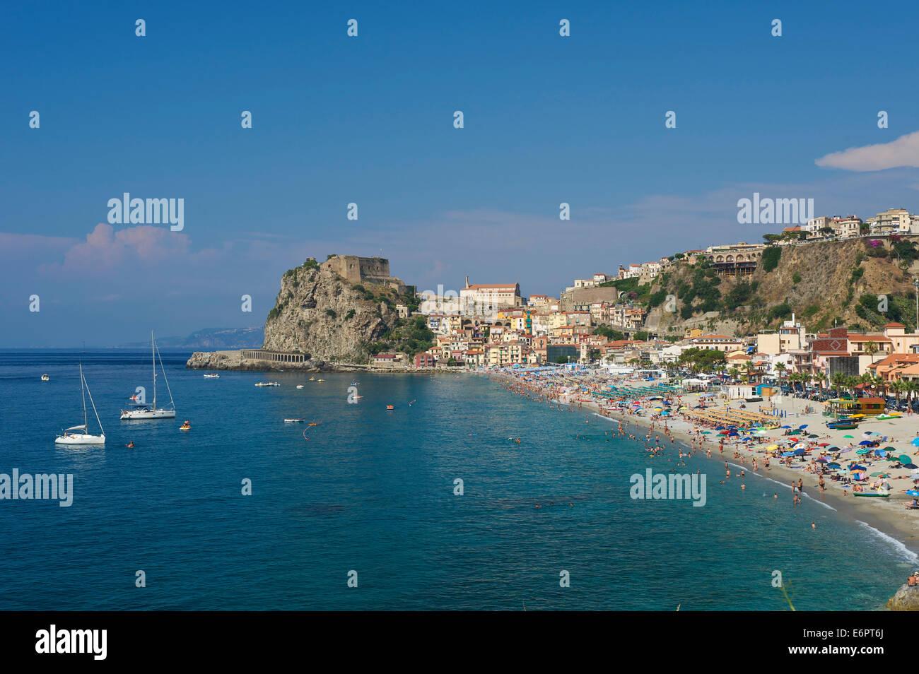 Beach, Scilla, Costa Viola, Calabria, Italy - Stock Image