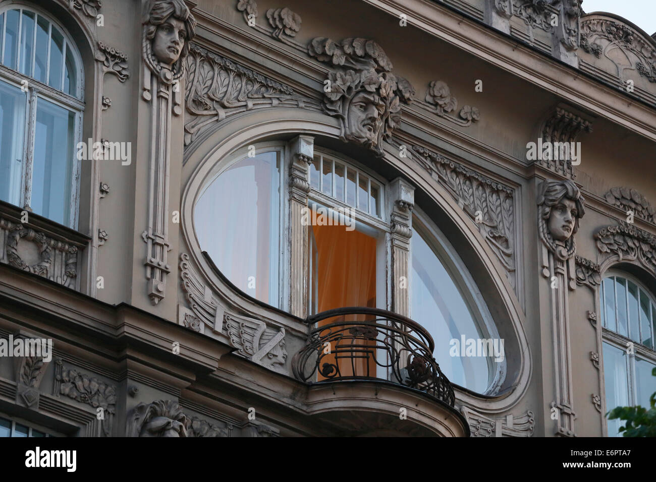 Art Nouveau facade of the house Eliza iela 10a or Elizabeth Street 10a, architects Mikhail Eisenstein and Konstantin - Stock Image