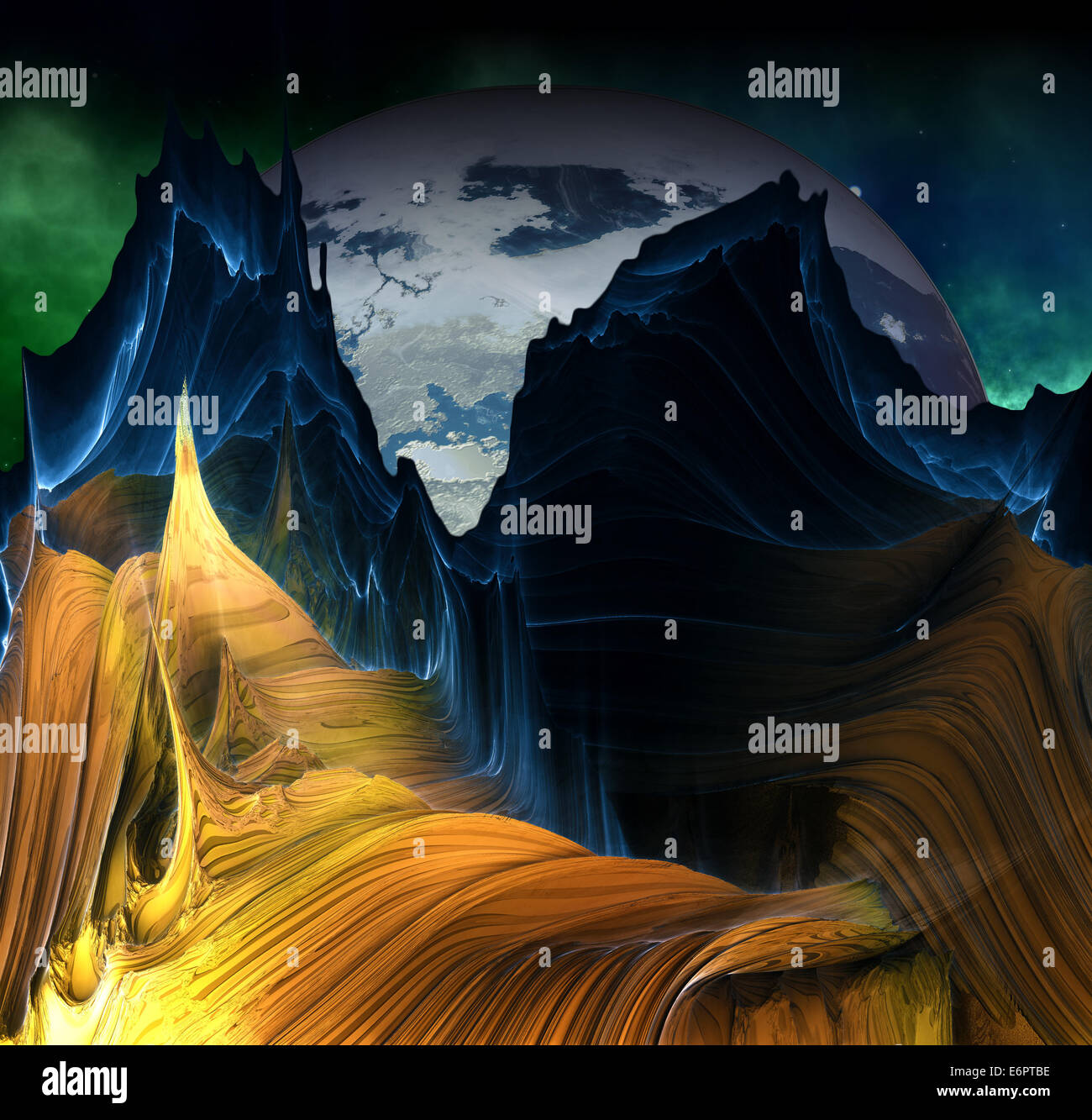 Alien mountains with space background and a big planet - Stock Image
