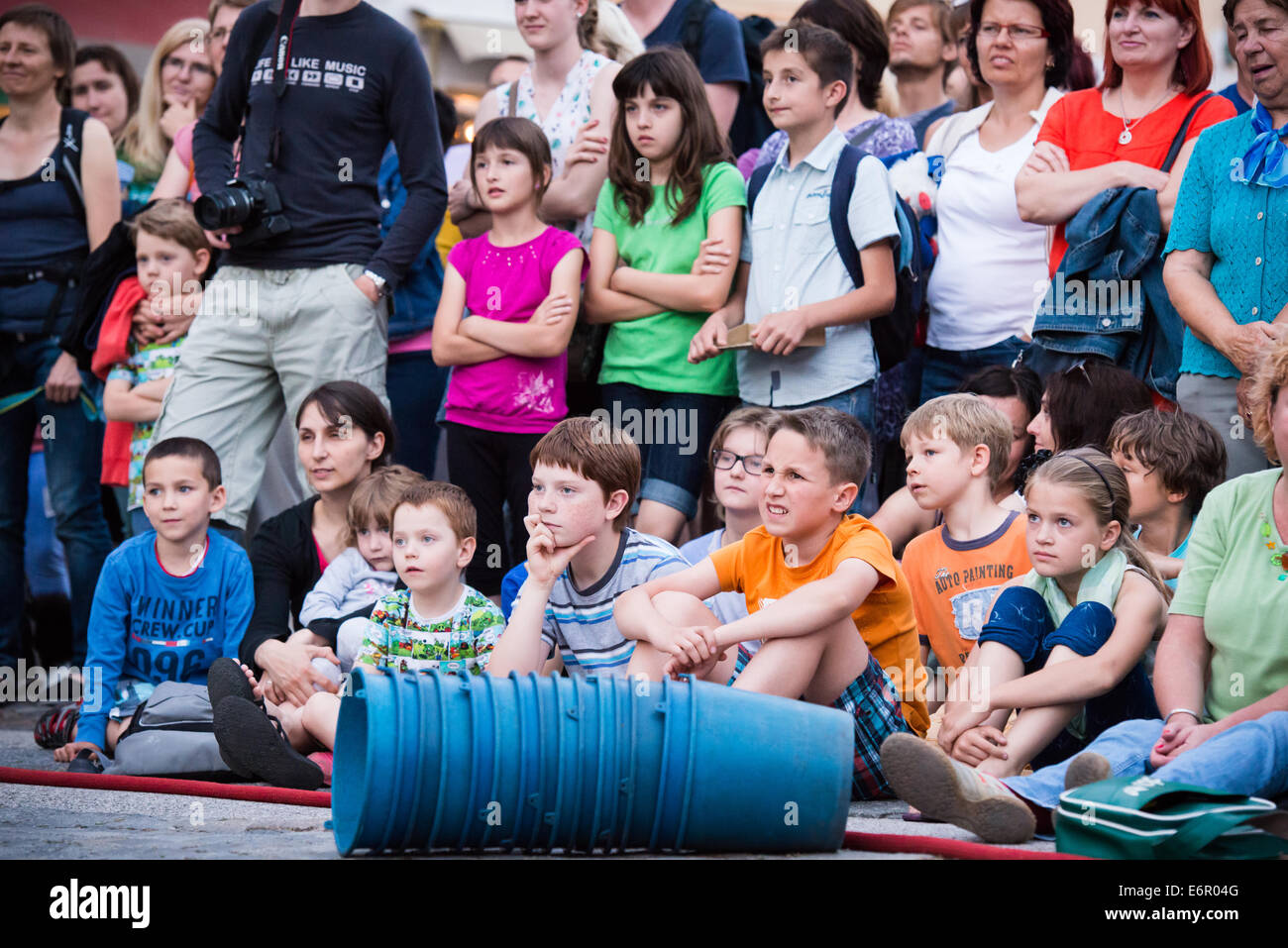 Audience at The Incredible Box, street theatre performance by Cia La Tal at Festival Lent, Maribor, Slovenia, June - Stock Image