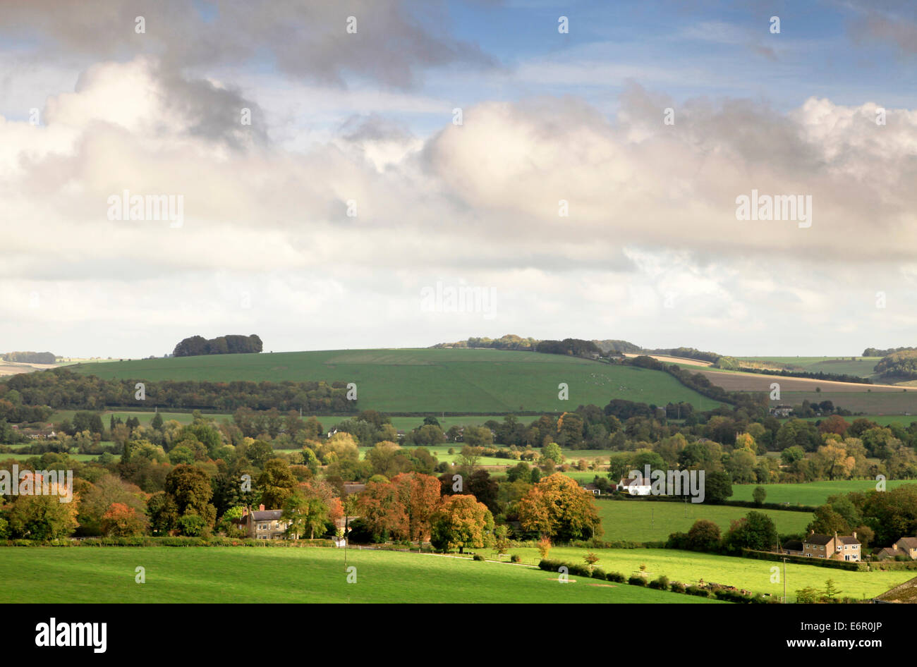 A view of the Wylye Valley in Wiltshire, England, including the villages of Corton and Upton Lovell. Stock Photo