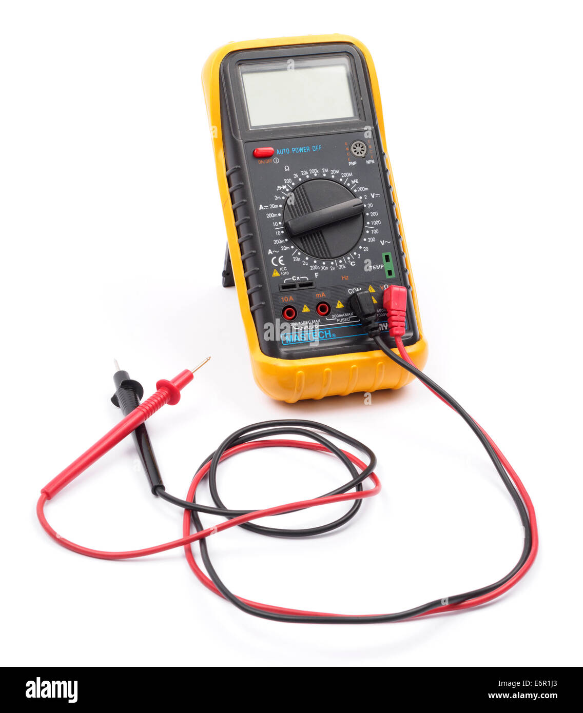 Digital multimeter cut out isolated on white background - Stock Image
