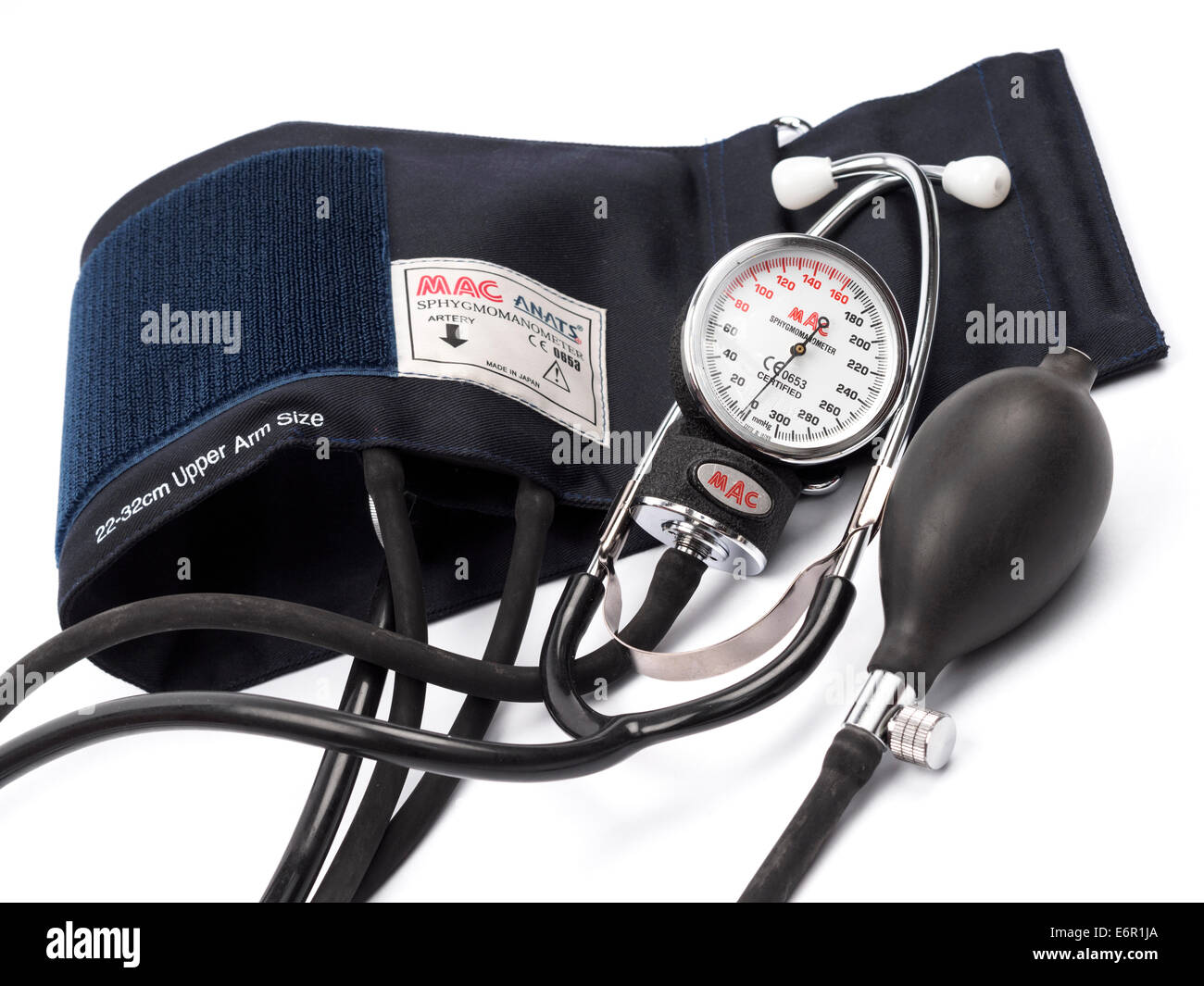 Sphygmomanometer blood pressure gauge - Stock Image