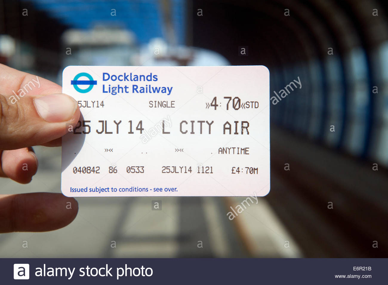 London UK  Ticket for the Docklands light railway. - Stock Image