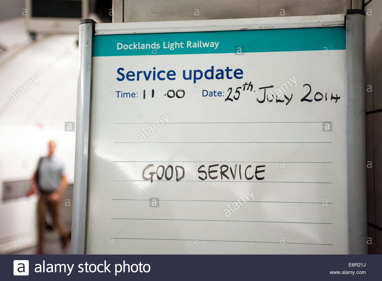 London UK  Service Update on the London Docklands railway - Good service. - Stock Image