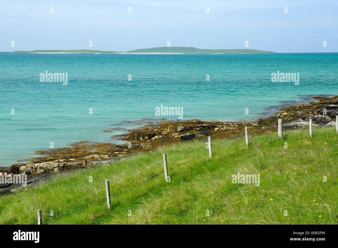 Boreray Island viewed from Sudhanais, Newtonferry, Port nan Long, North Uist, Outer Hebrides - Stock Image