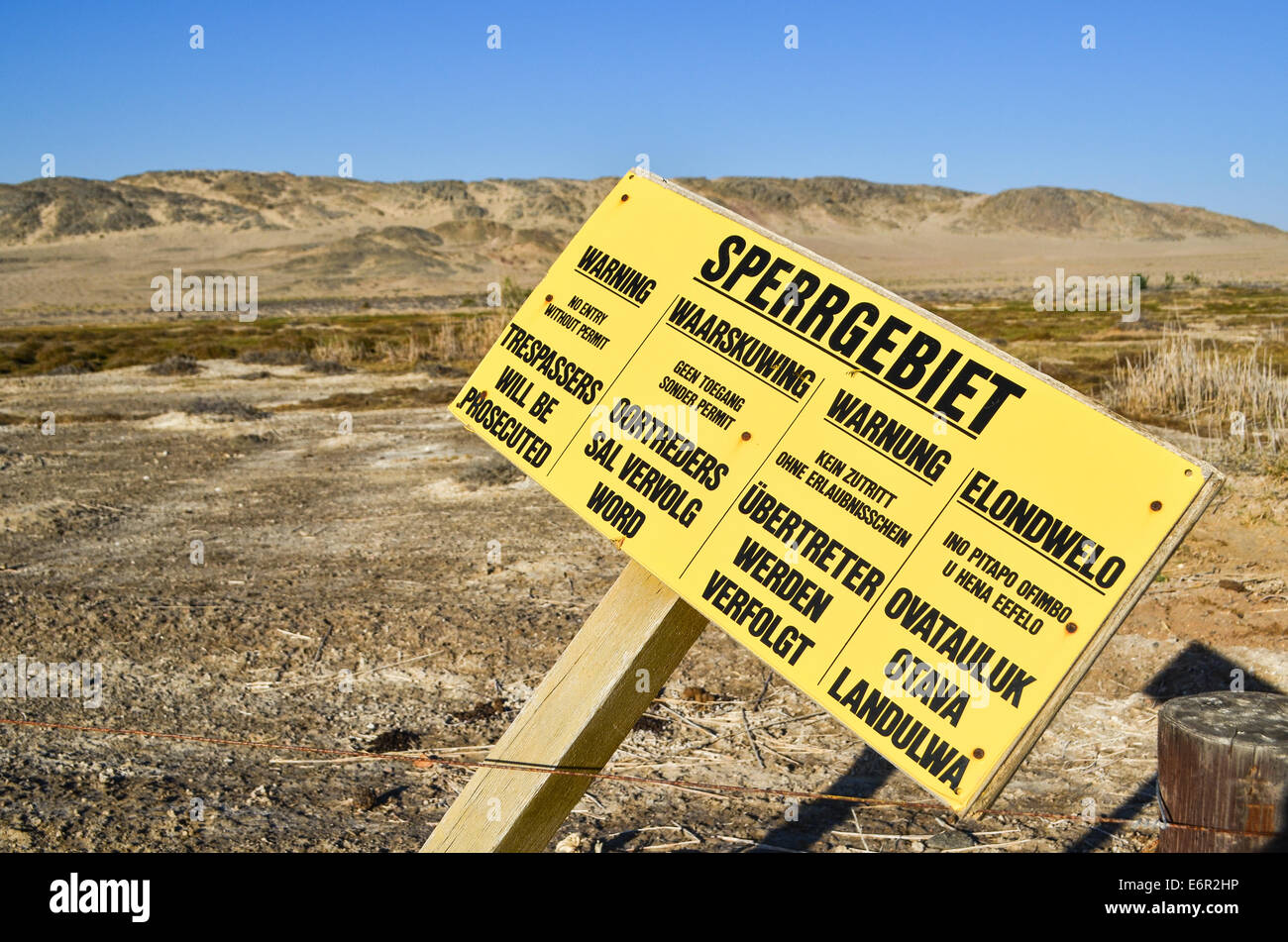 Sperrgebiet warning sign, Diamond mining area 01, Namibia - Stock Image