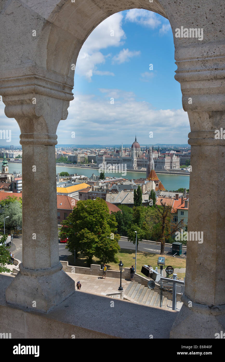 View through the arches at the Fisherman's Bastion Budapest Hungary - Stock Image