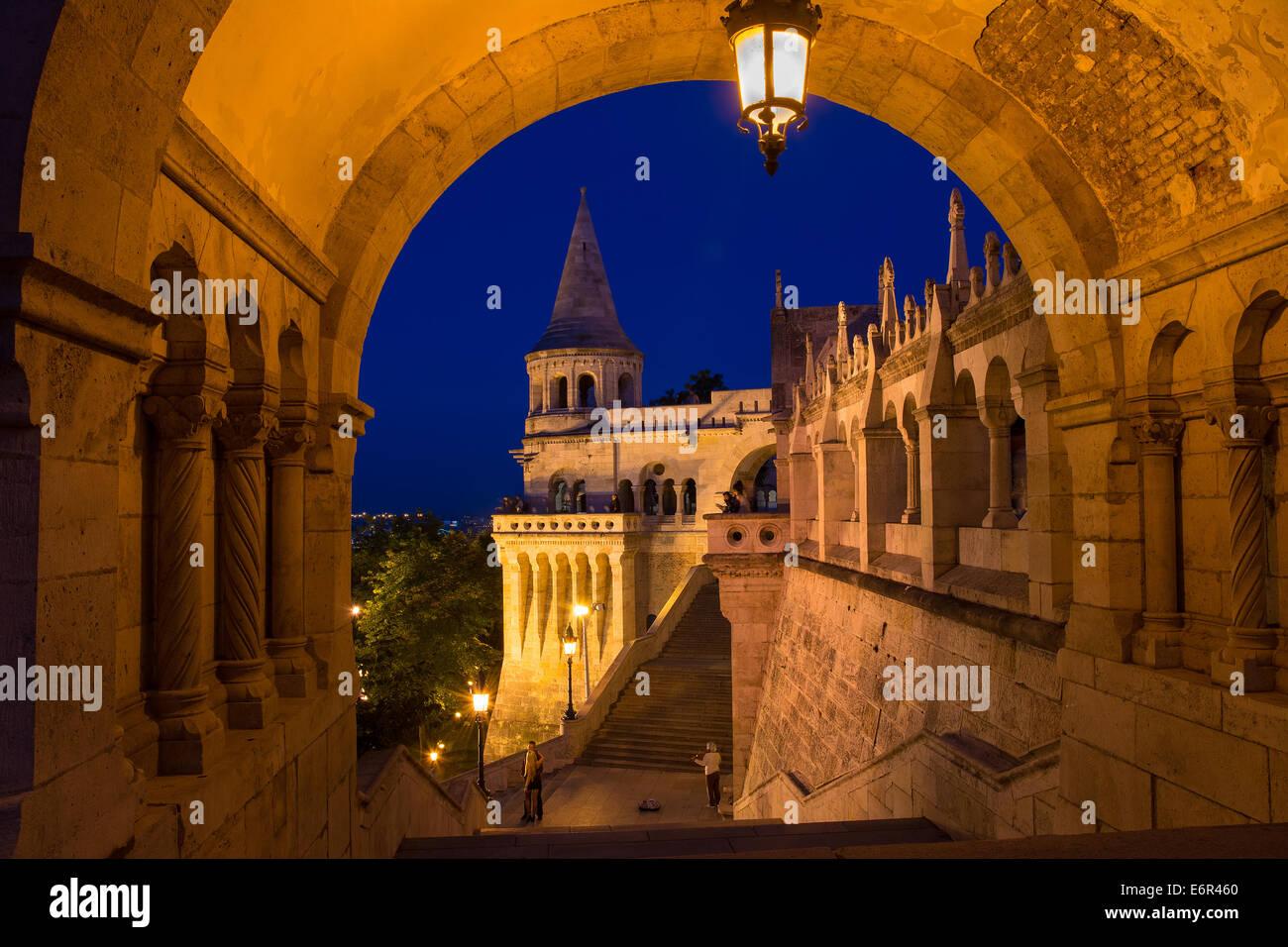 The Fisherman's Bastion Budapest Hungary Nighttime - Stock Image