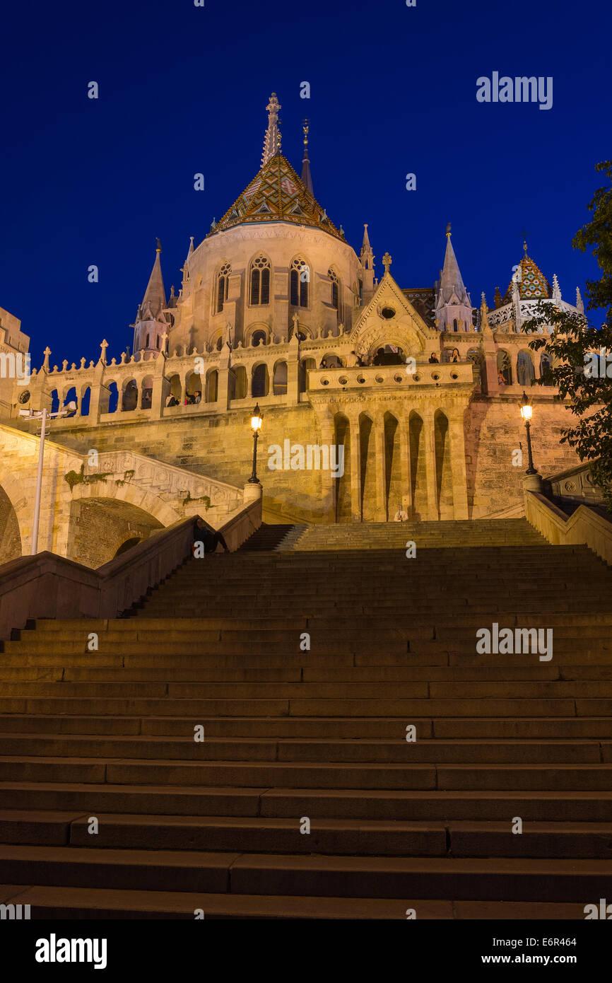 The Fisherman's Bastion Budapest Hungary Illuminated at Night - Stock Image