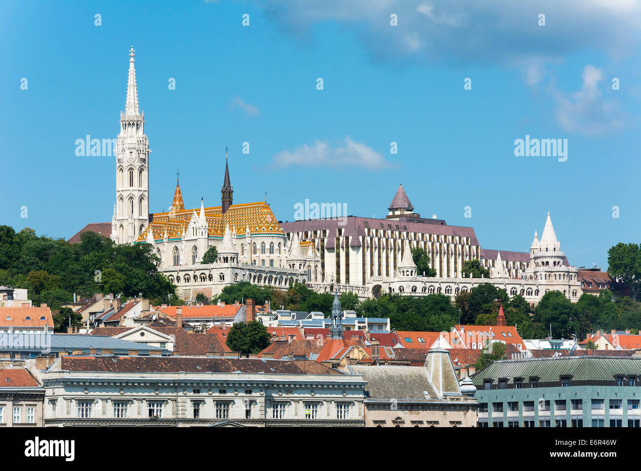 View of the Fisherman's Bastion and Matthias Church Budapest - Stock Image