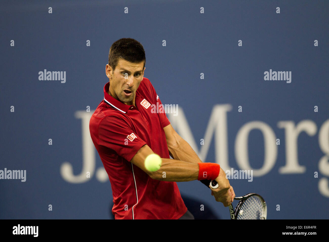 Flushing Meadows, NY, USA. 25th Aug, 2014. Novak Djokovic (SRB) in action against Diego Schwartzman (ARG) during - Stock Image