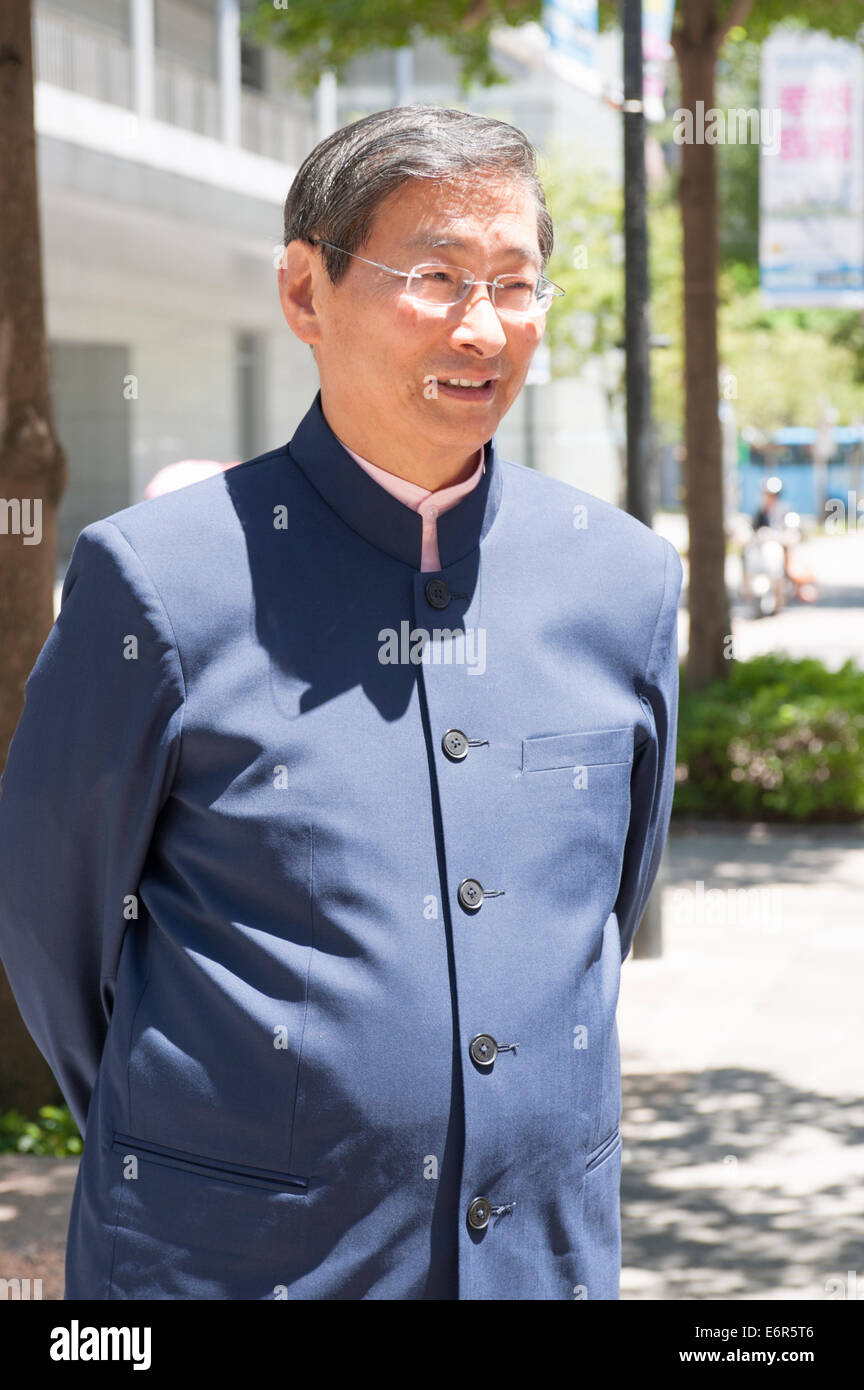"Taipei. 29th Aug, 2014. Mr. Chang An-lo, AKA ""White Wolf"", leader and President of Taiwan's political China Unification - Stock Image"